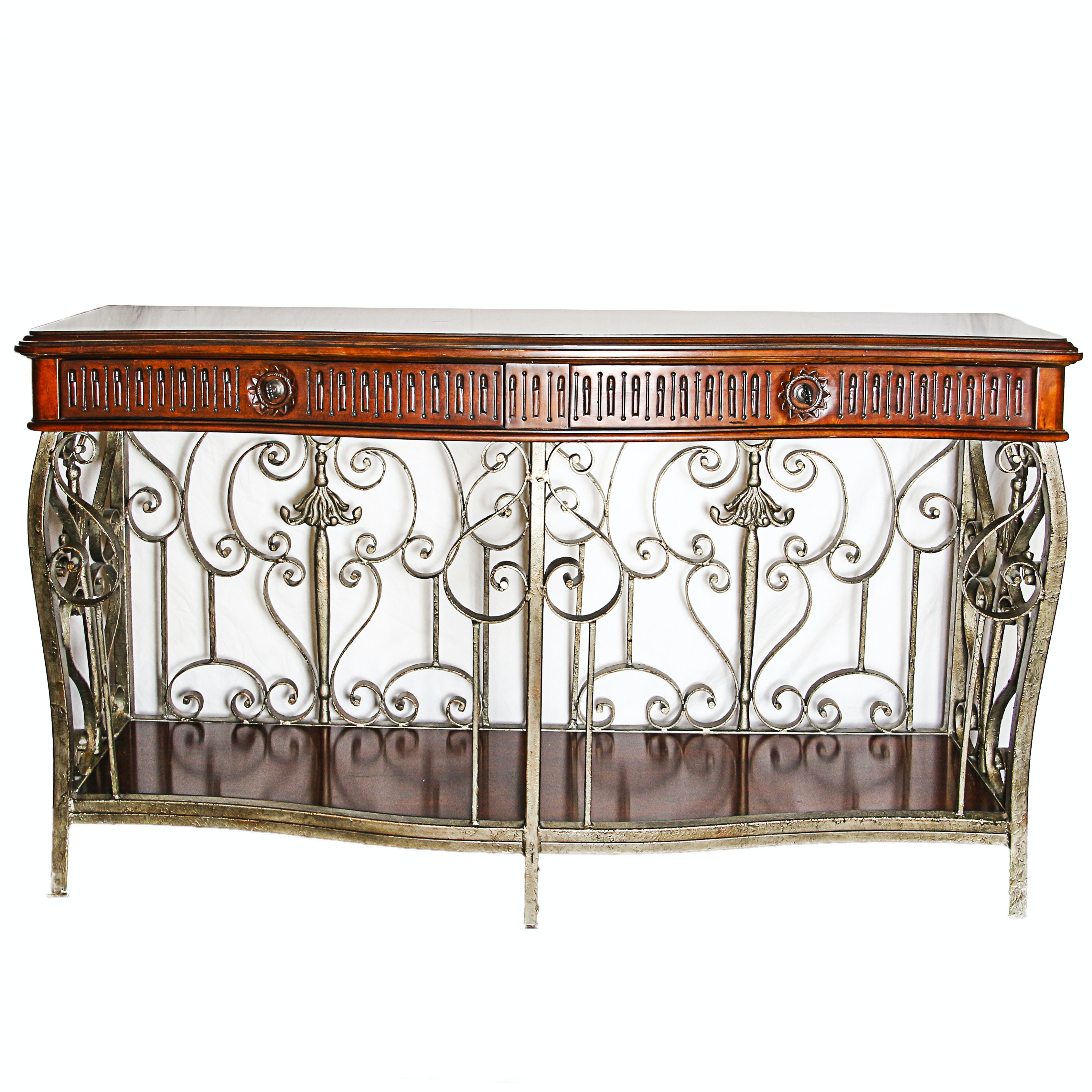 Neoclassical Style, Walnut and Wrought Iron Console Table