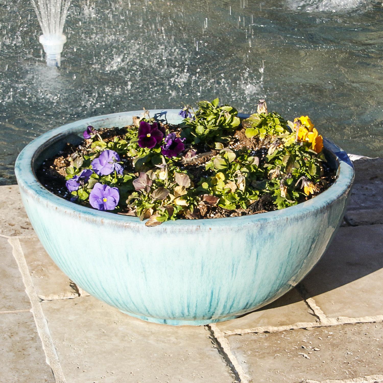 Shallow Aqua Glazed Ceramic Planter