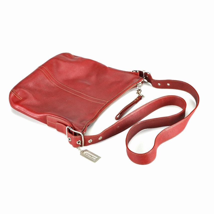 2004 Coach Red Leather Slim Legacy Duffle Shoulder Bag