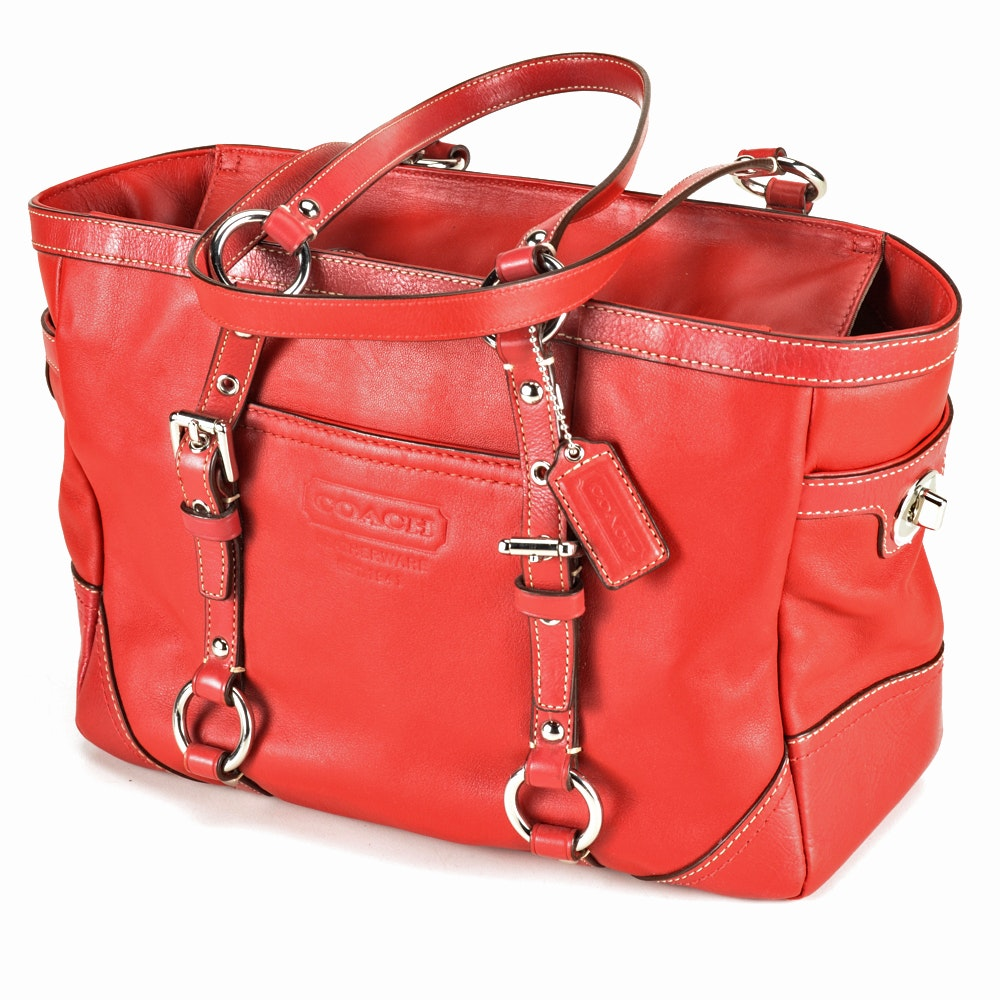 2010 Coach Red Leather East/West Gallery Tote