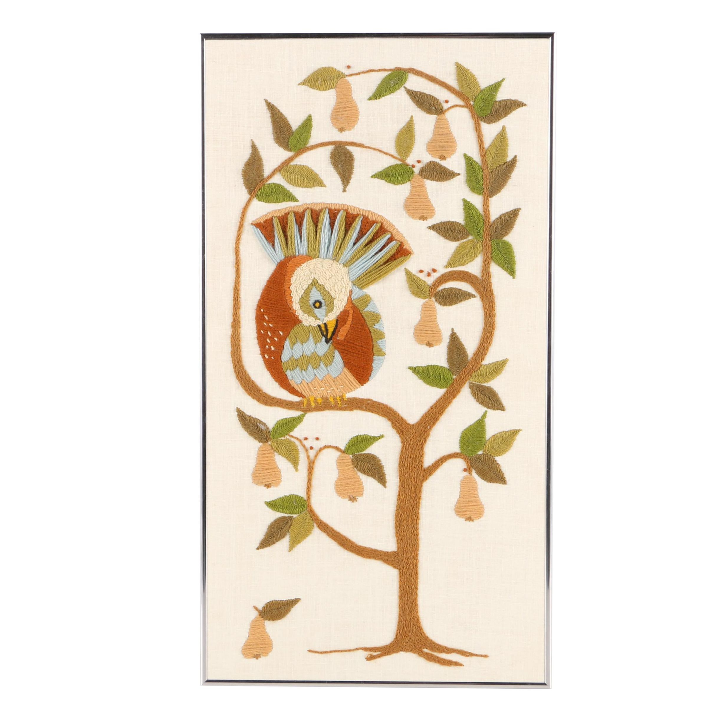 Helen Wagner Crewel Embroidery of a Partridge in a Pear Tree