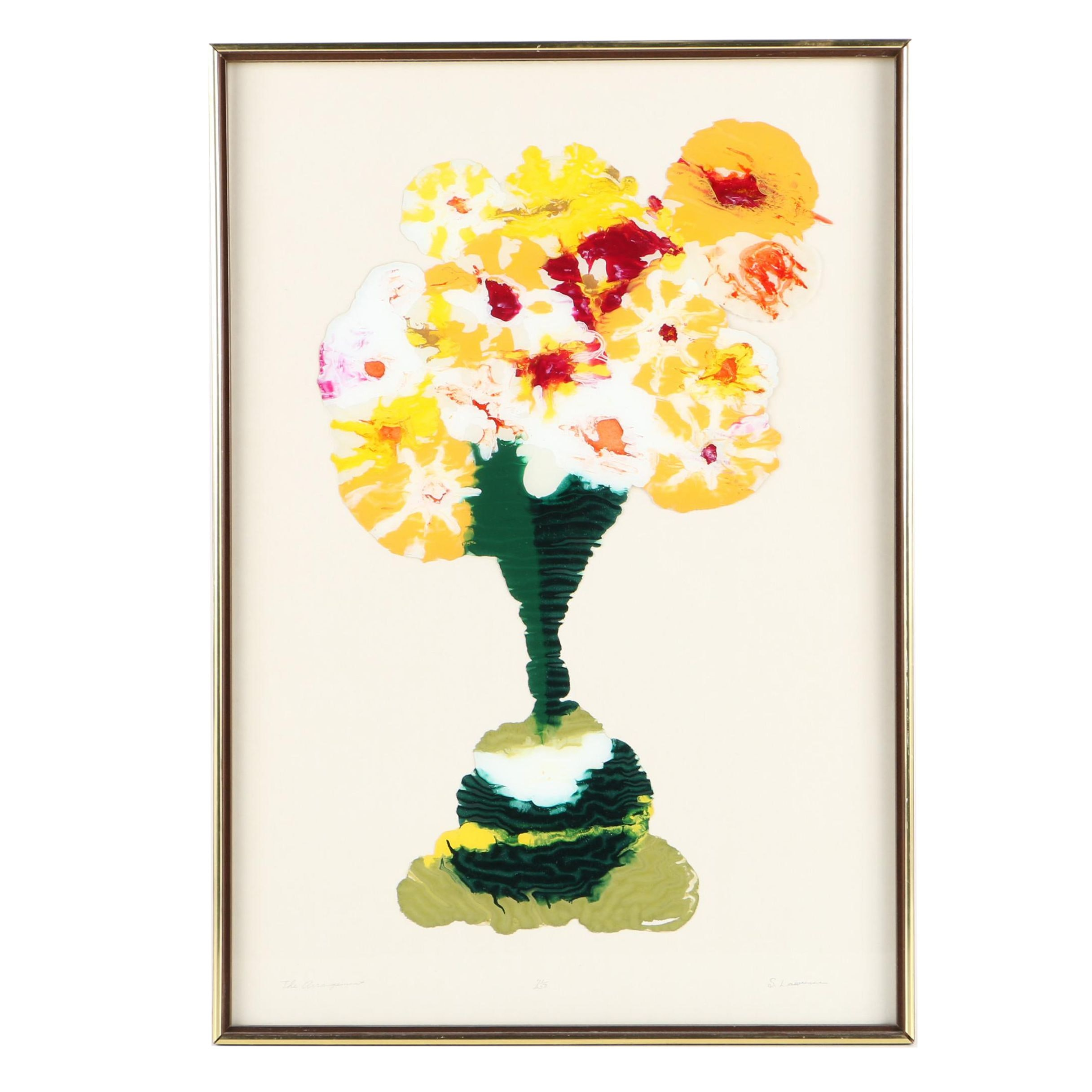 """Limited Edition S. Lawrence Reverse Painted Glass Still Life """"The Arrangement"""""""