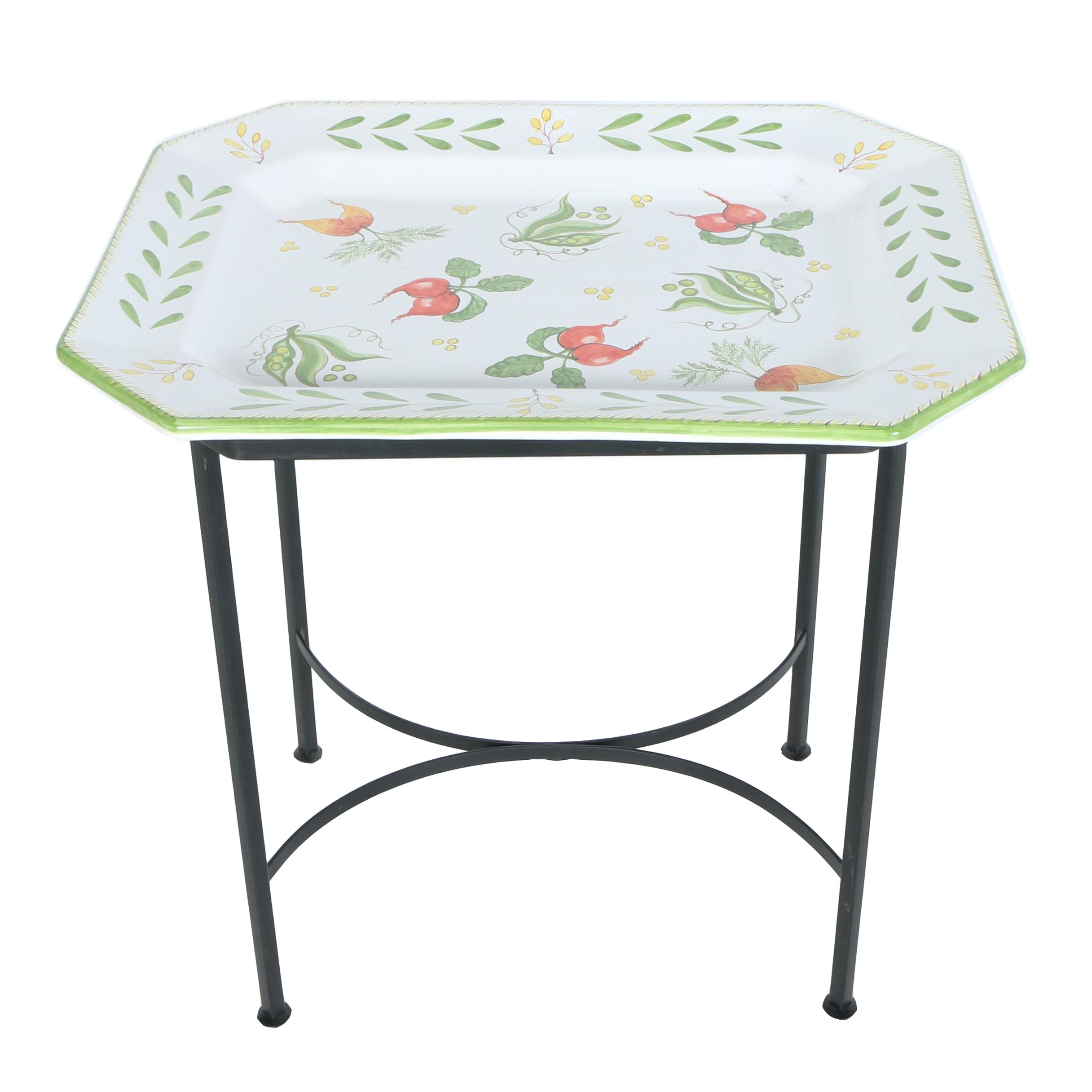 Deruta Hand-Painted Italian Ceramic and Metal Tray Table