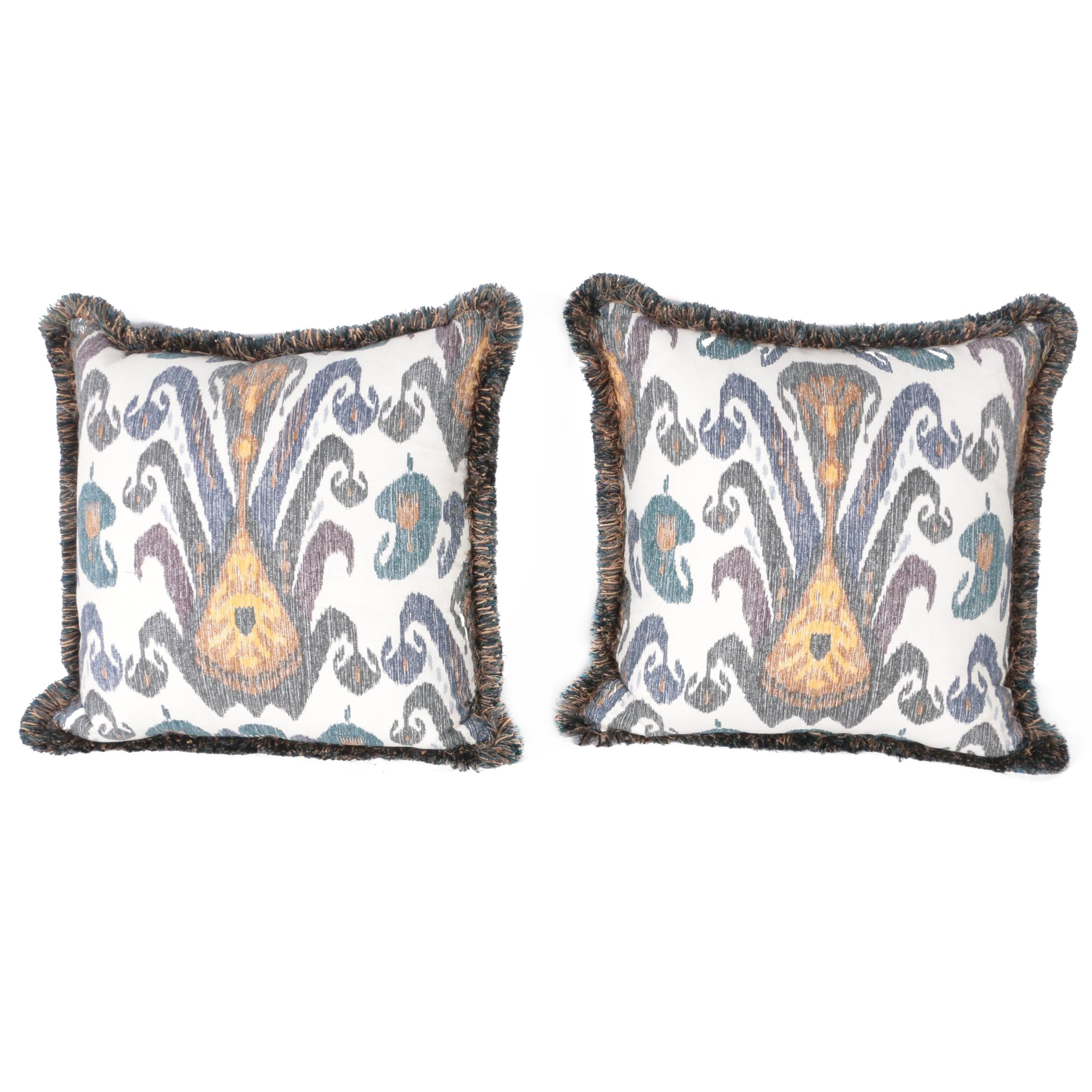 Accent Pillows With Ikat Style Design