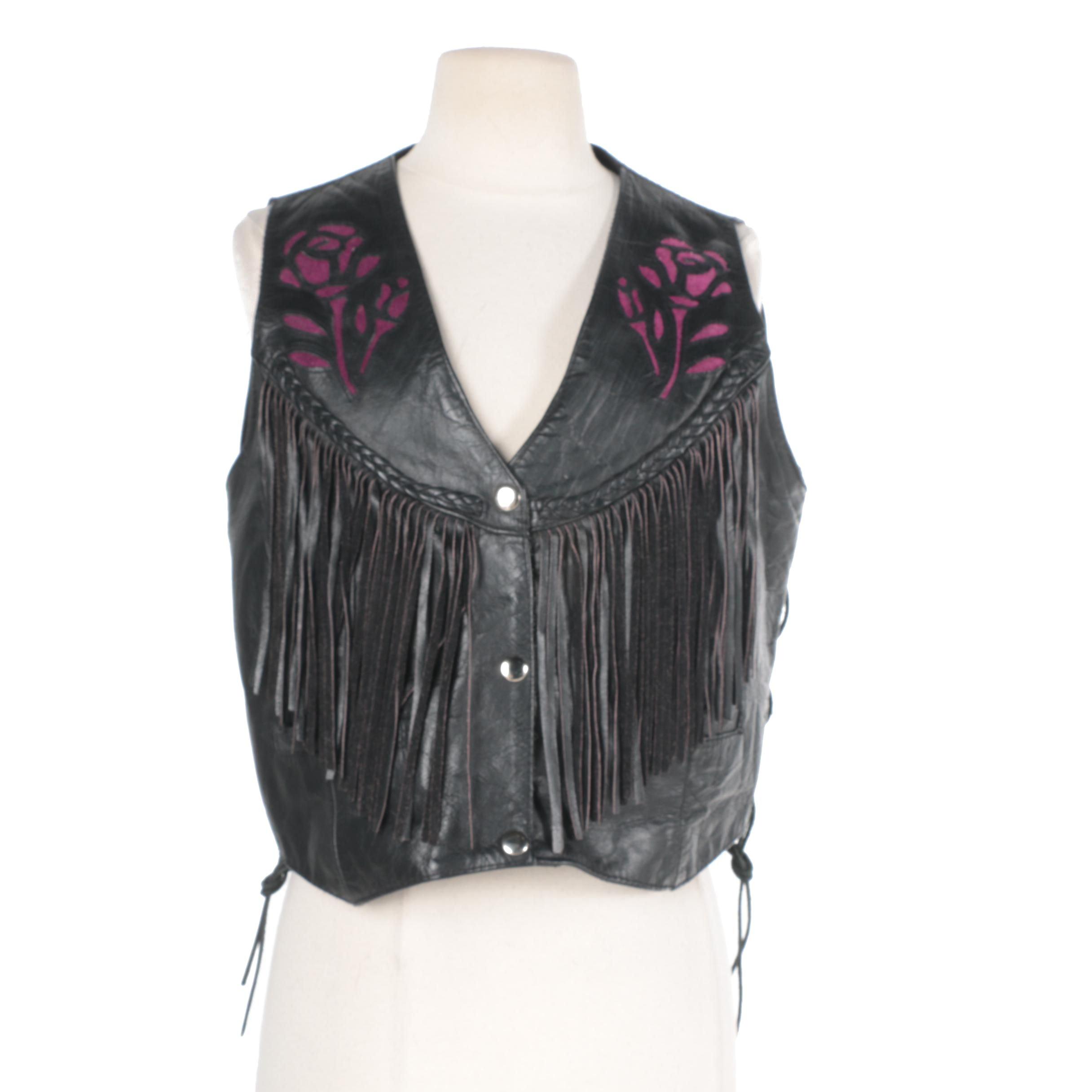 1990s Women's Hudson Leather Biker Vest with Suede Cutouts