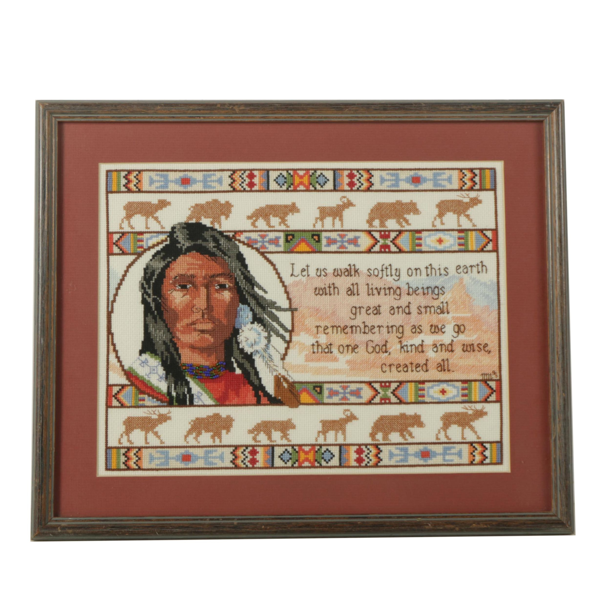 Cross-Stitch Embroidery with Native American Theme