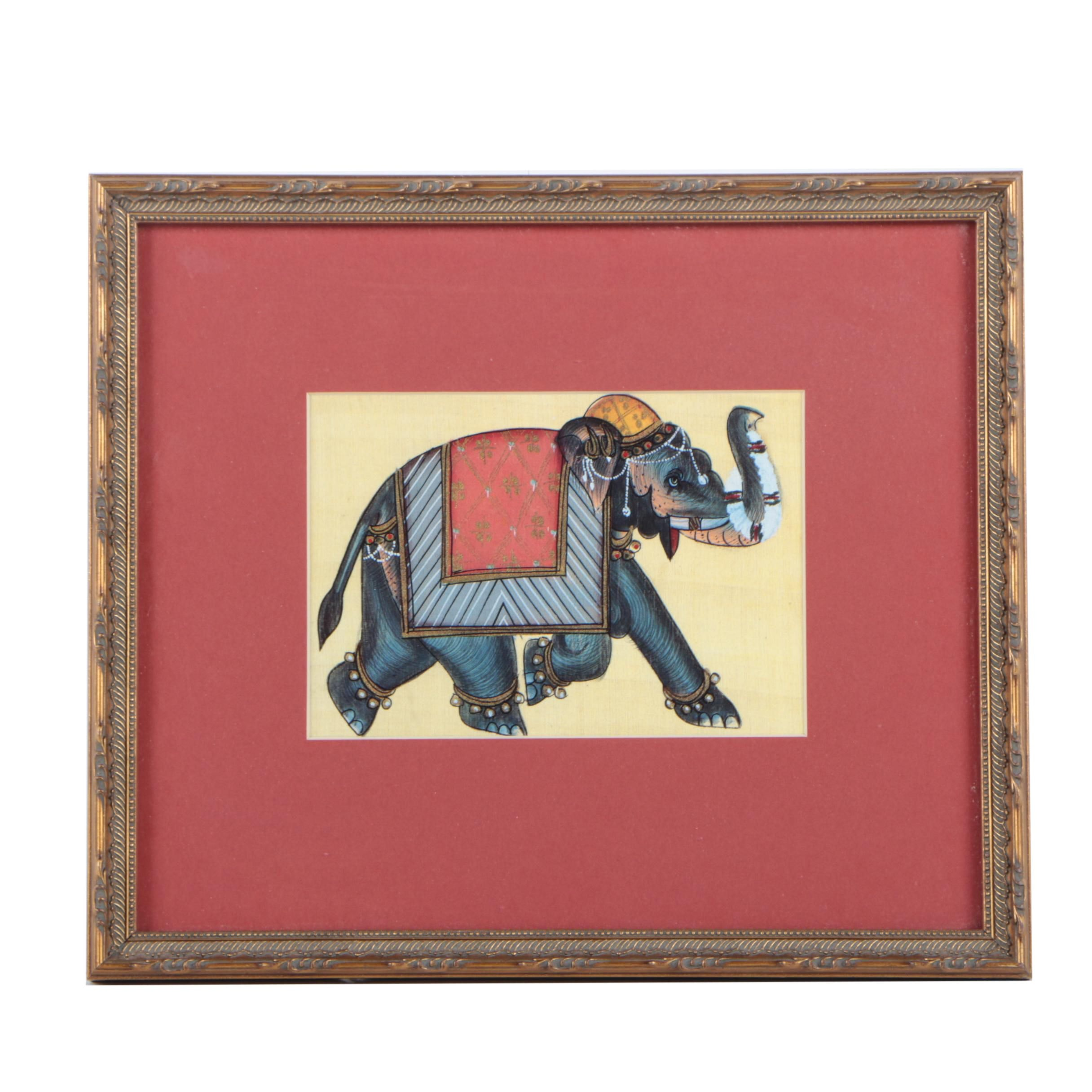 """Offset Lithograph on Paper After Rajasthani Silk Thangka """"Moghul Elephant"""""""