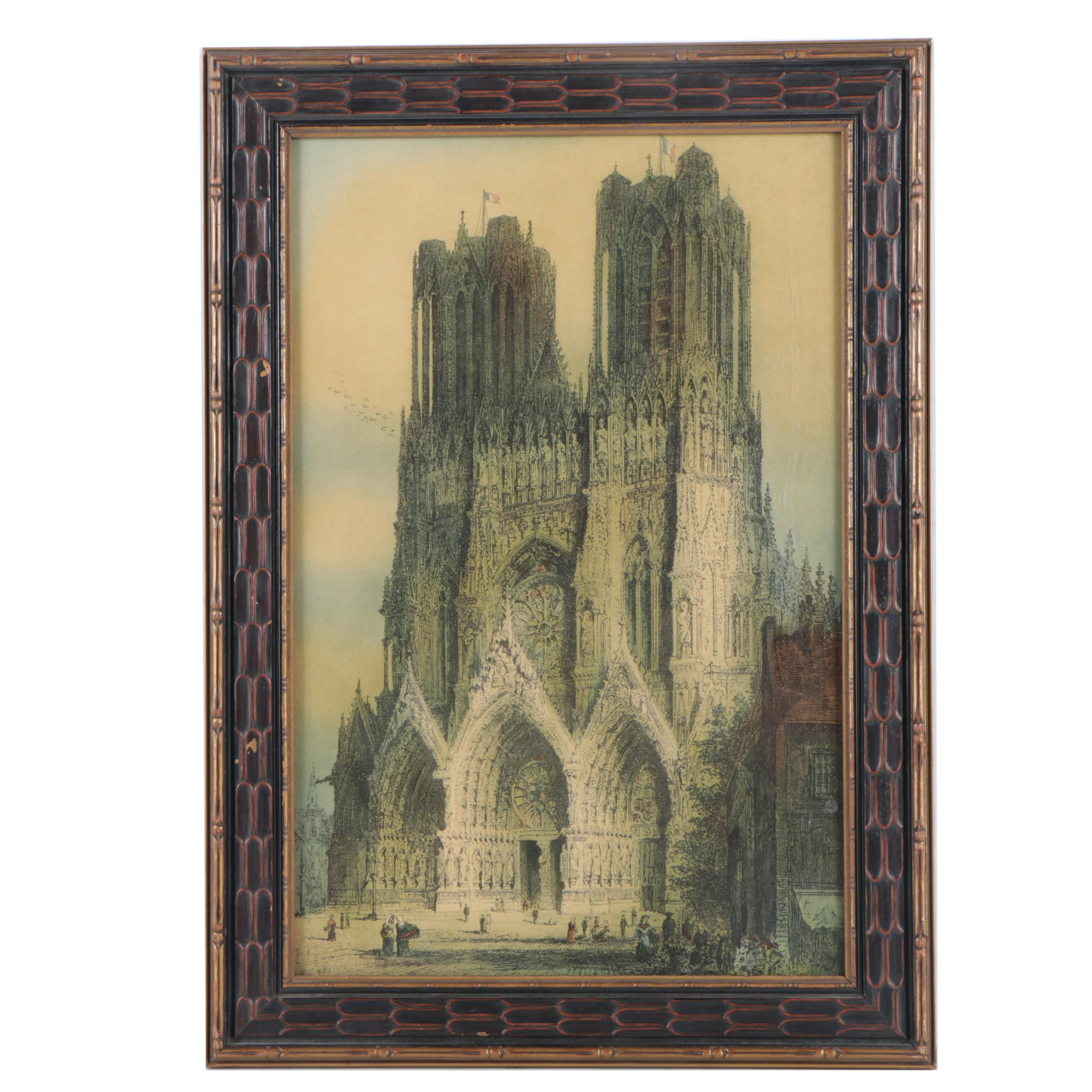 Circa 1920 Chromolithograph After J. Alphege Brewer Etching of Reims Cathedral