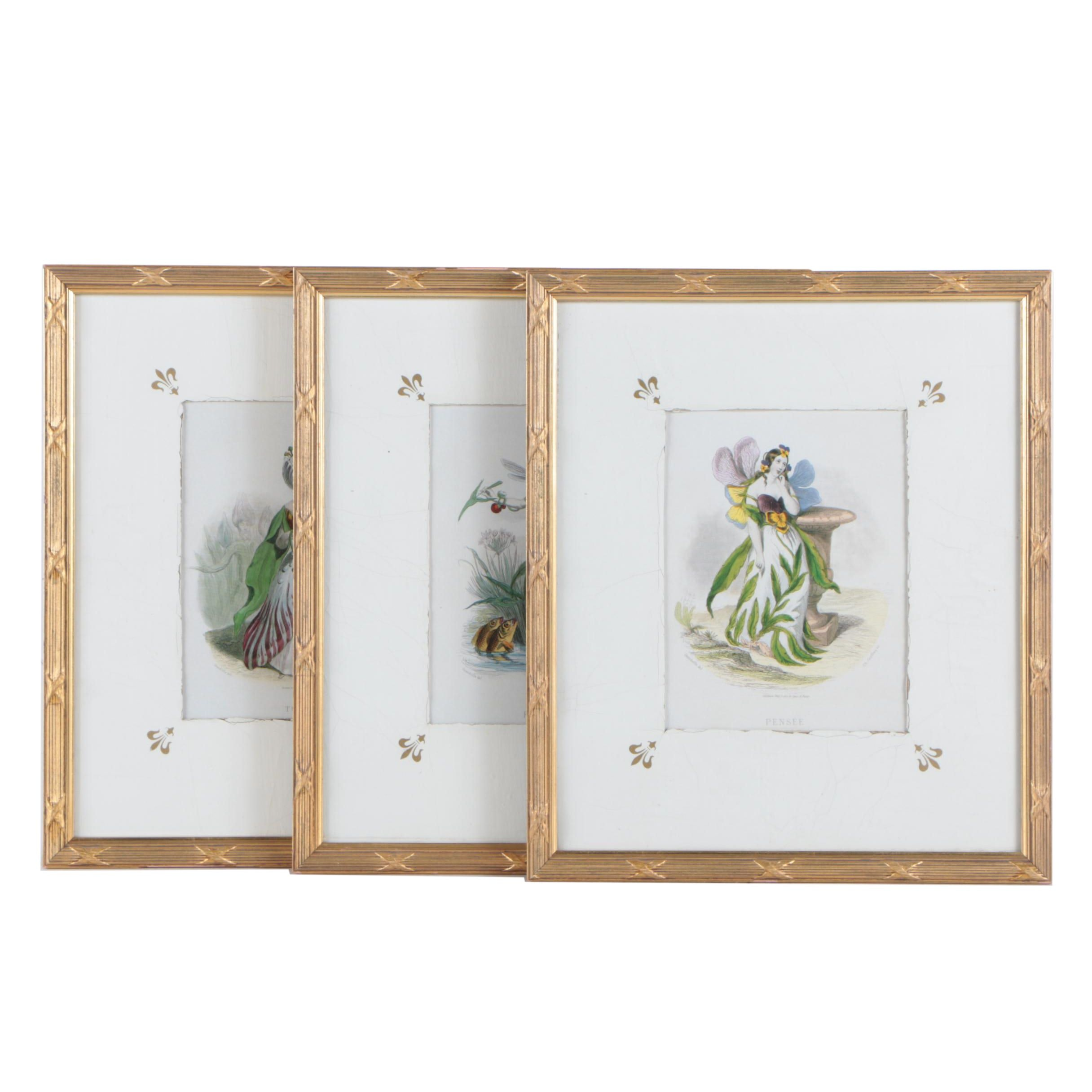 """Three Offset Lithographs After J.J. Grandville's """"Les Fleurs Animées"""""""