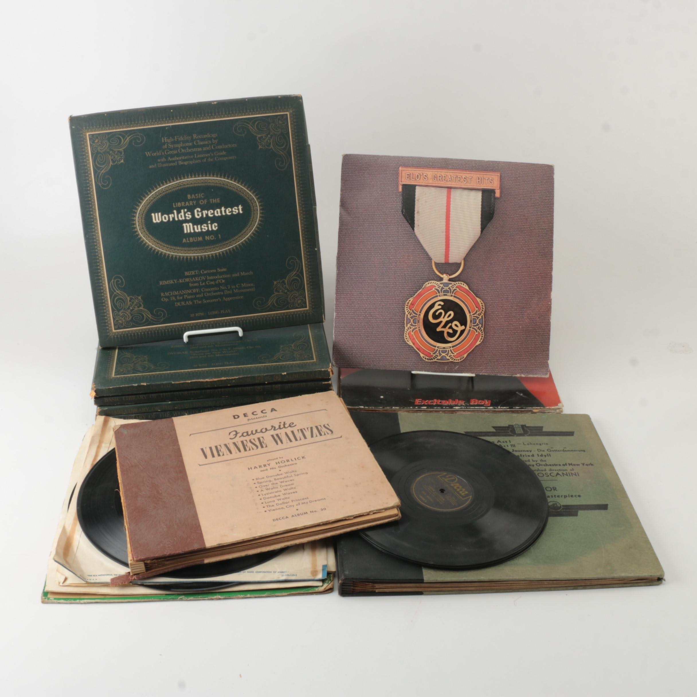 Classical and 1970s Rock 78 rpm and LP Records