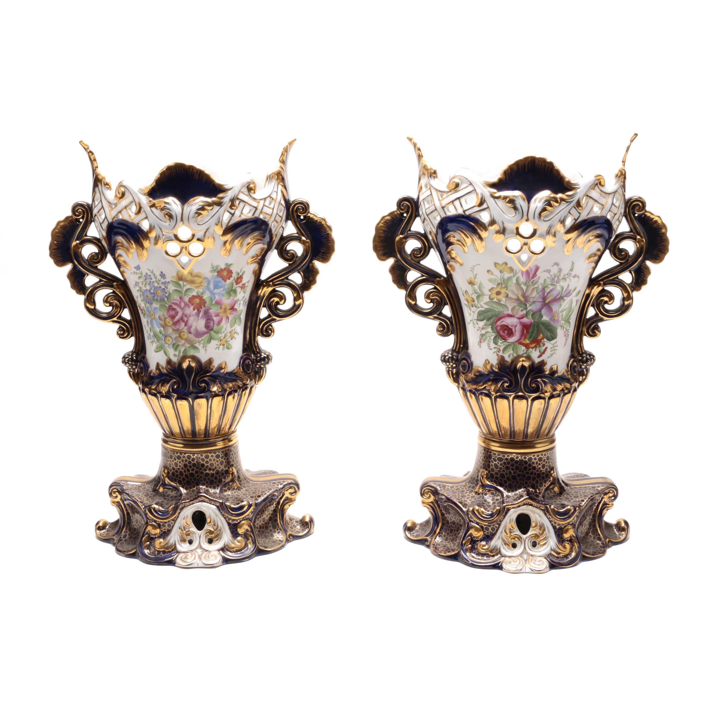 Pair of Sevres Mantel Vases