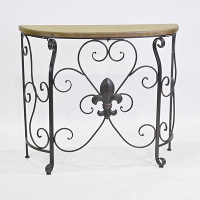Pine And Metal Fleur De Lis Demilune Table ...