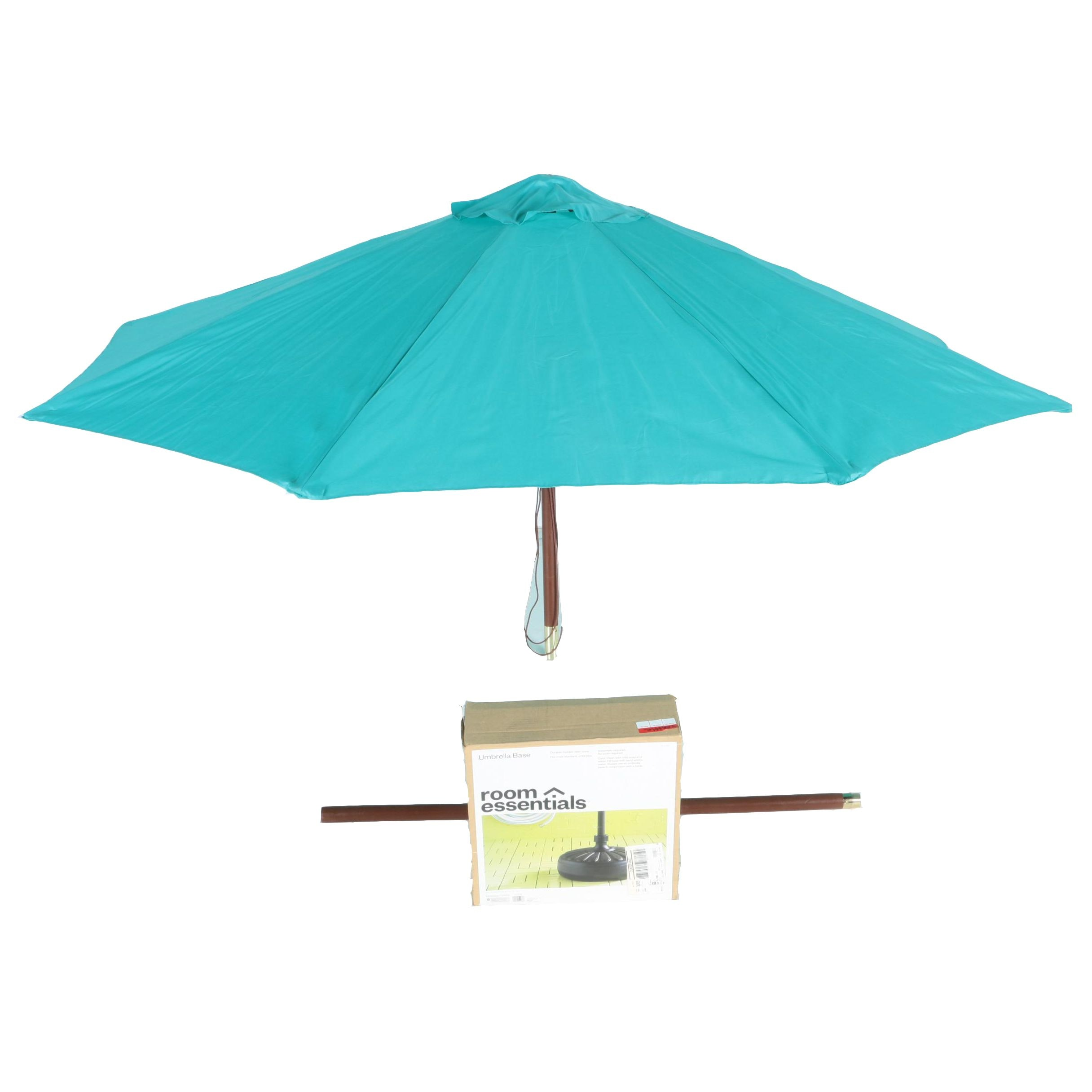 Teal Patio Umbrella with Stand