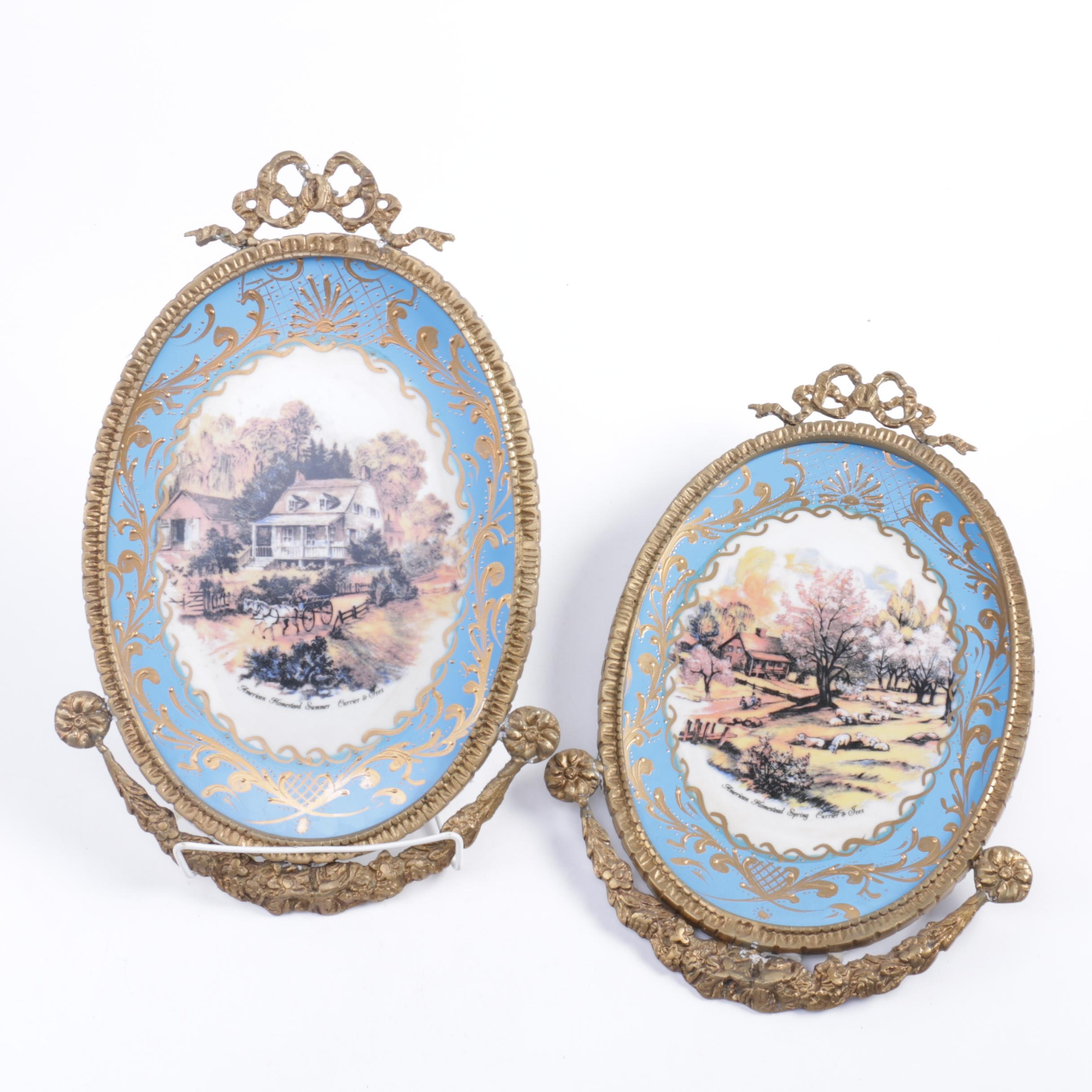 Pair of Ornate Framed Currier and Ives Decorative Plates