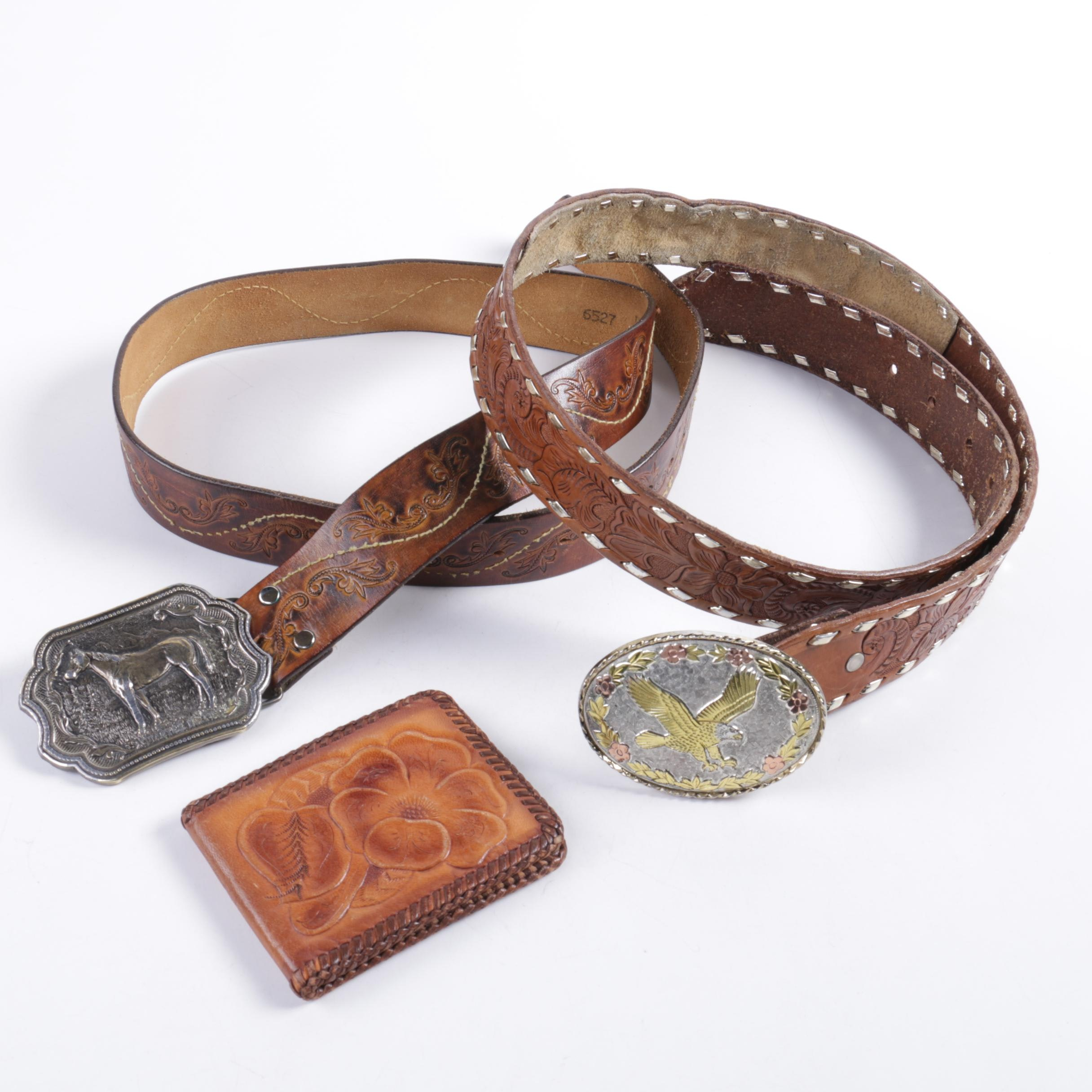 Vintage Tooled Leather Belts and Wallet