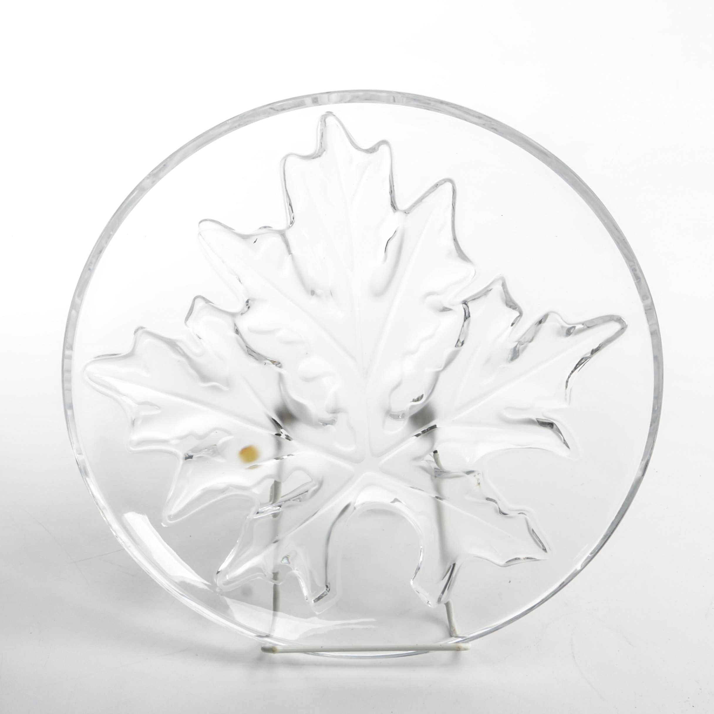 "Lalique Etched ""Maple Leaf"" Crystal Schal Bowl"
