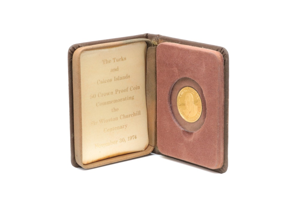 1974 Turks and Caicos Isalnds 50 Crown Gold Coin with Leather Case