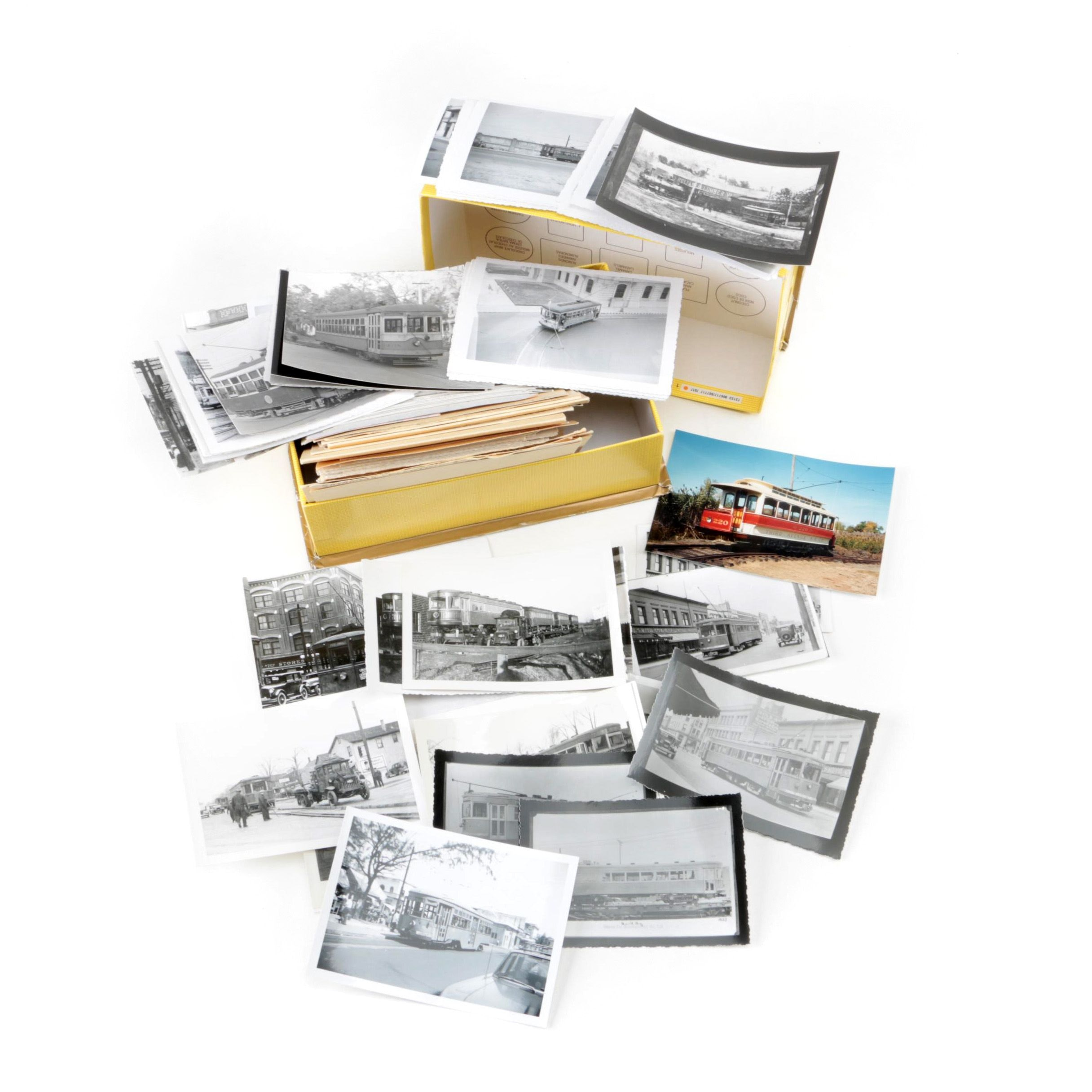 Photographs of Street Cars Organized In Box With Filing Cards