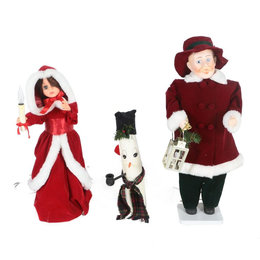 rennoc and santas best animated christmas dolls and wooden folk art snowman - Animated Christmas Dolls