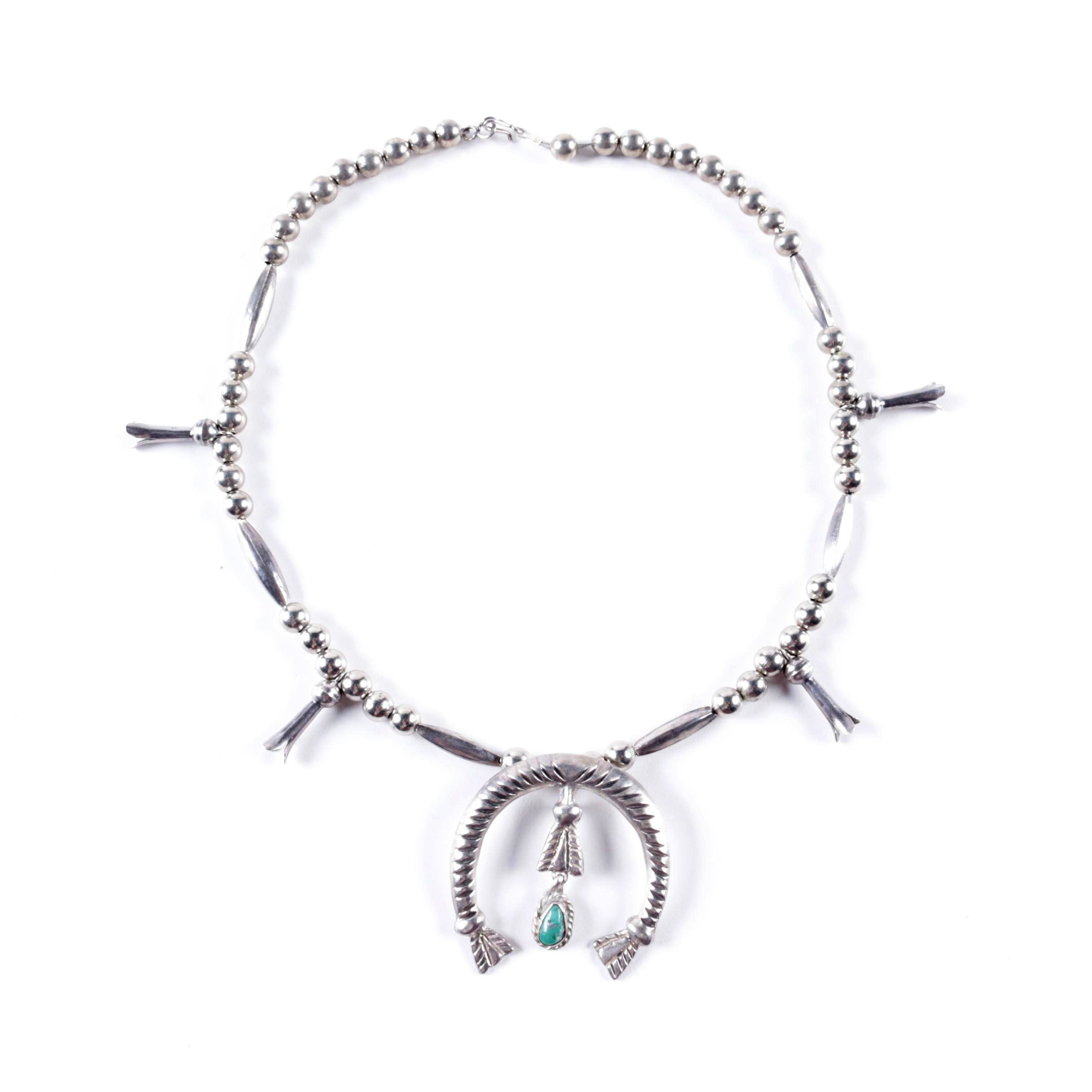 Vintage Sterling Silver and Silver Tone Squash Blossom and Turquoise Necklace