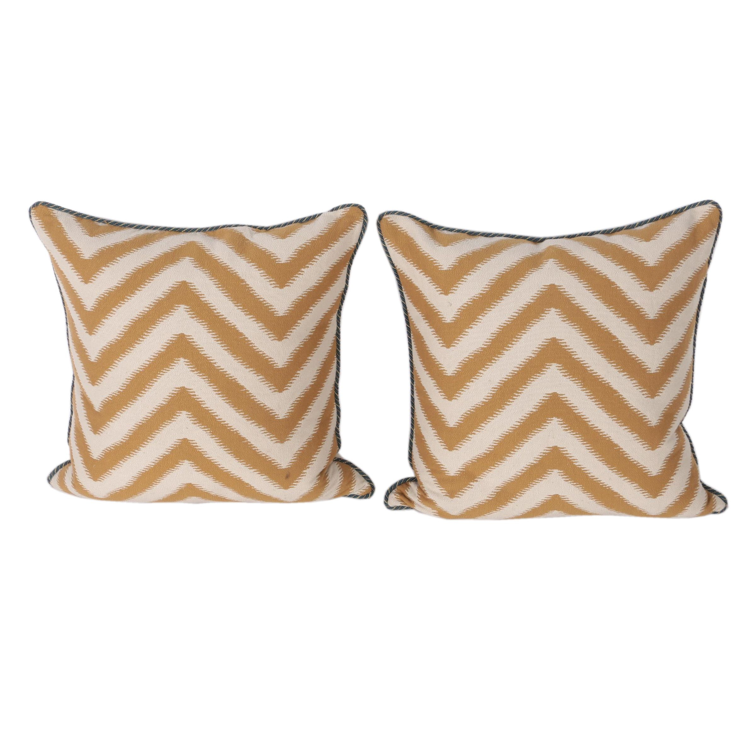 Gold Tone and White Accent Pillows