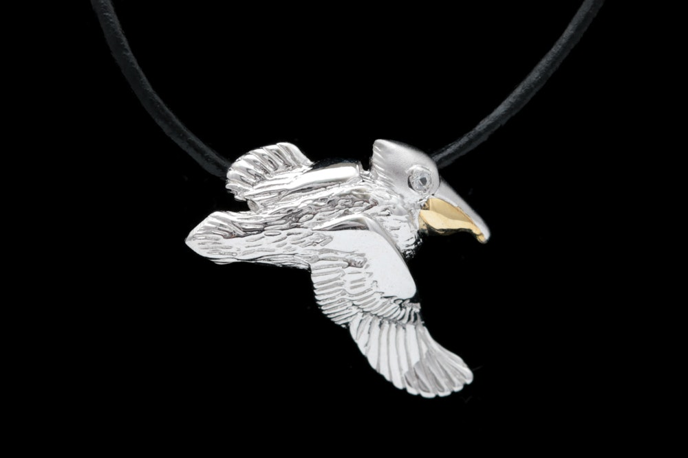 Sterling Silver, 14K Yellow Gold and Cubic Zironia Pelican Pendant Necklace