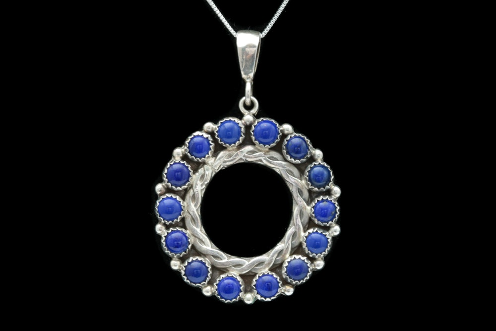 Sterling Silver and Lapis Lazuli Pendant with Chain