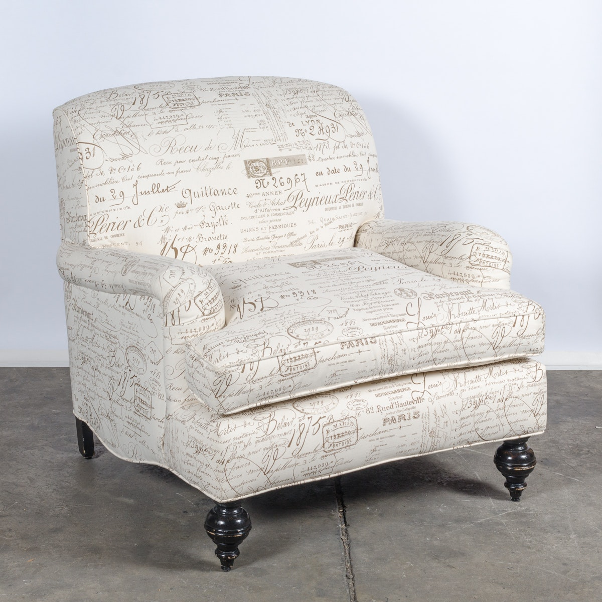 English Roll Arm Upholstered Accent Chair ...