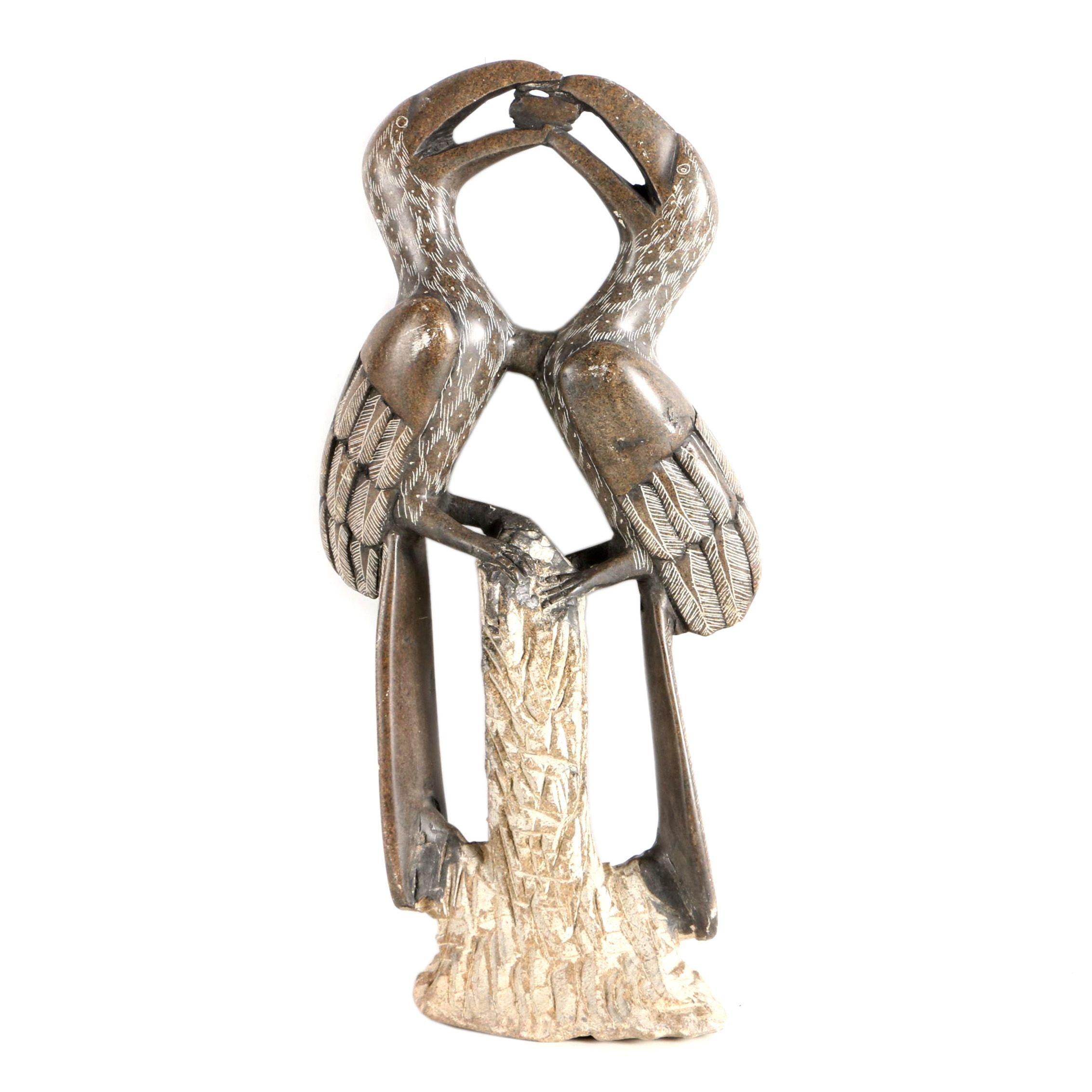 Carved Stone Hornbill Sculpture
