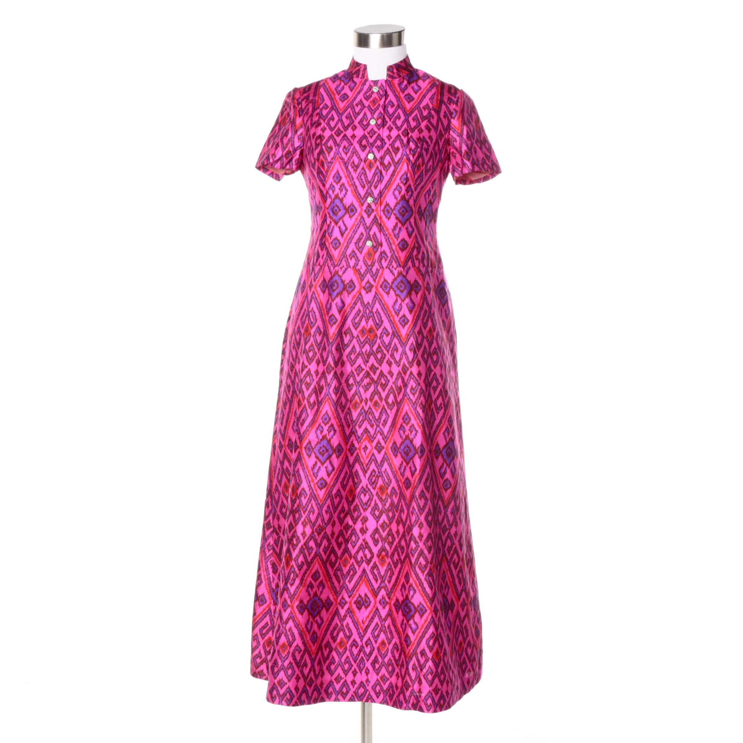 Circa 1960s Bespoke Silk Blend Dress with Rhinestone Buttons