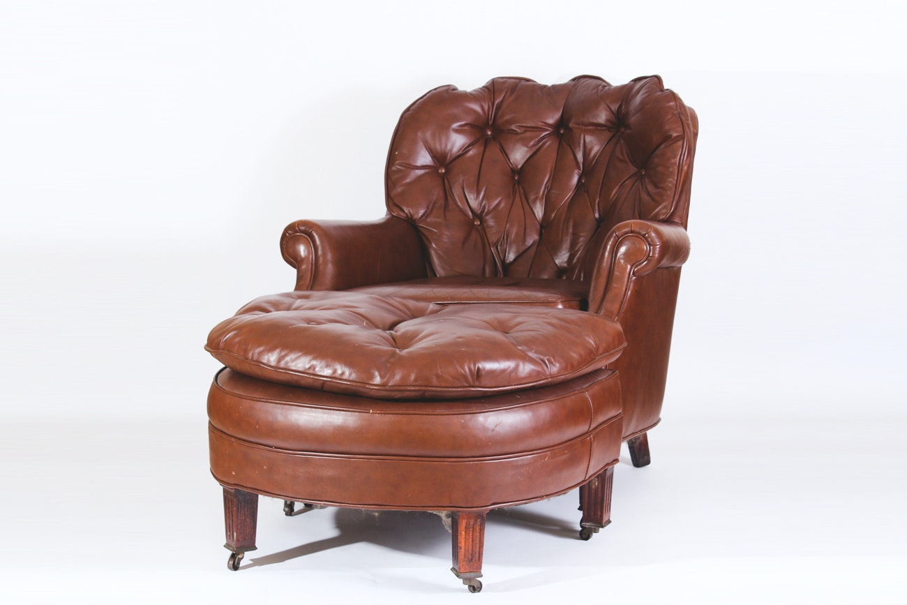 Vintage Faux Leather Armchair And Ottoman ...