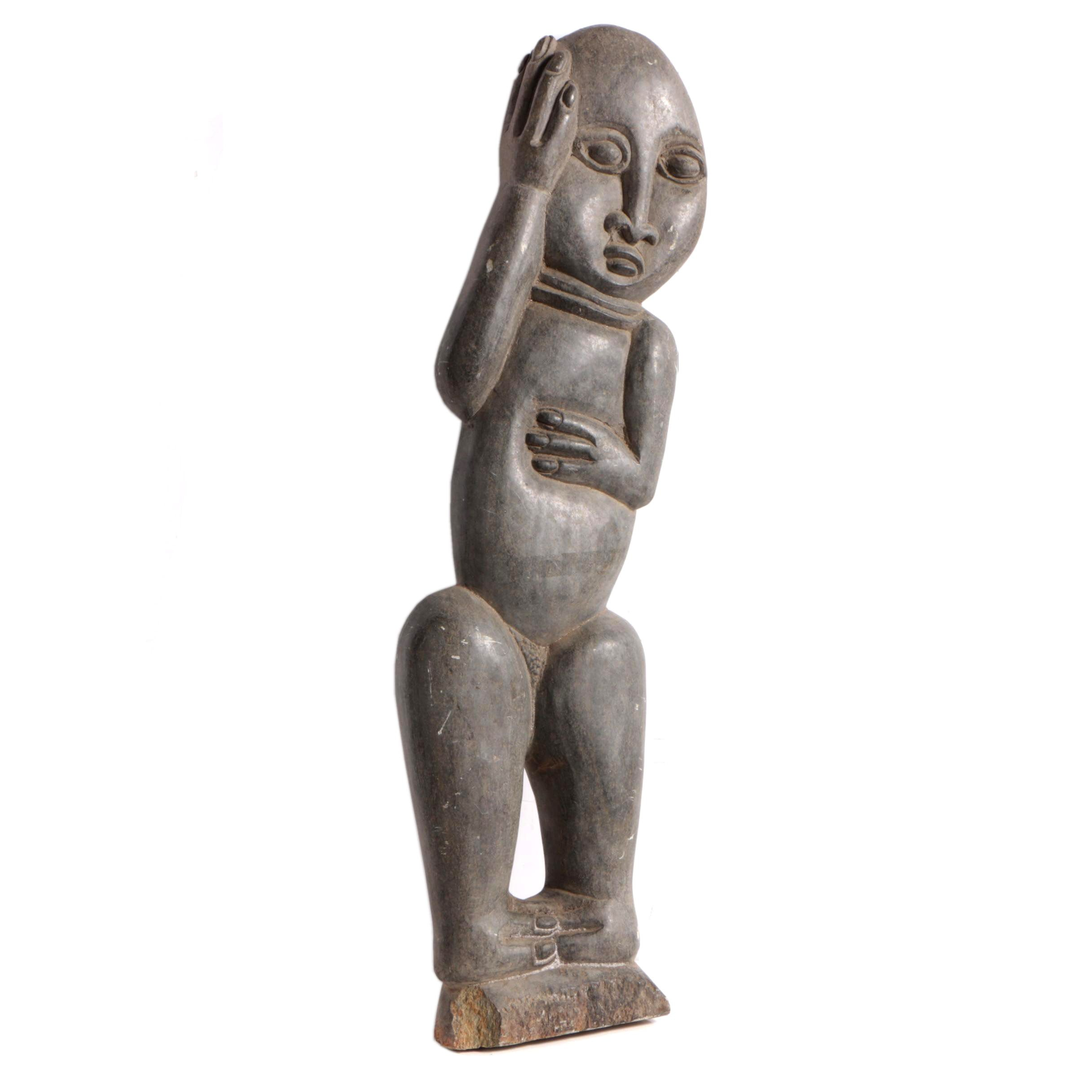 East African Style Carved Soapstone Figurative Sculpture