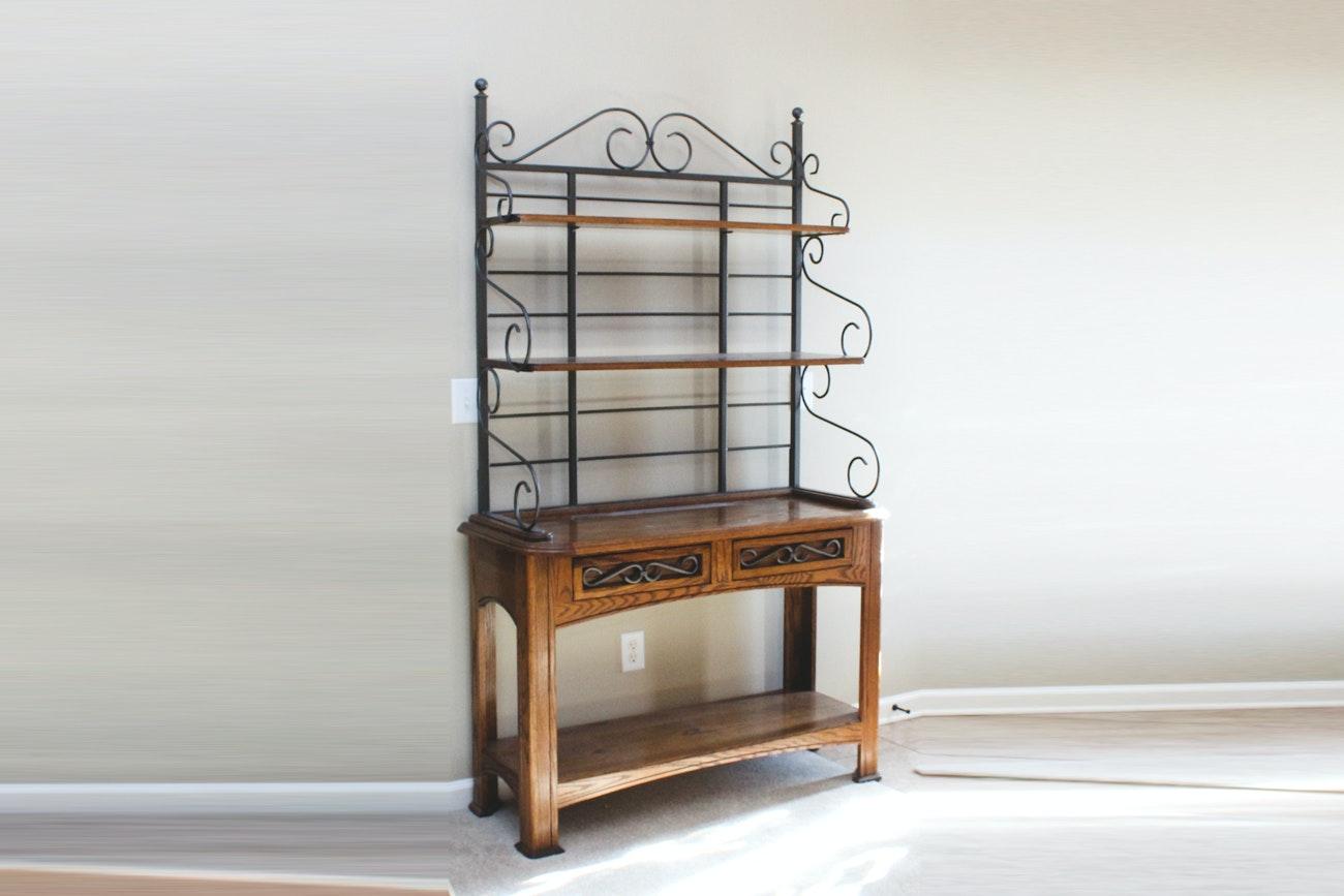 Wood and Metal Plant Shelf Unit