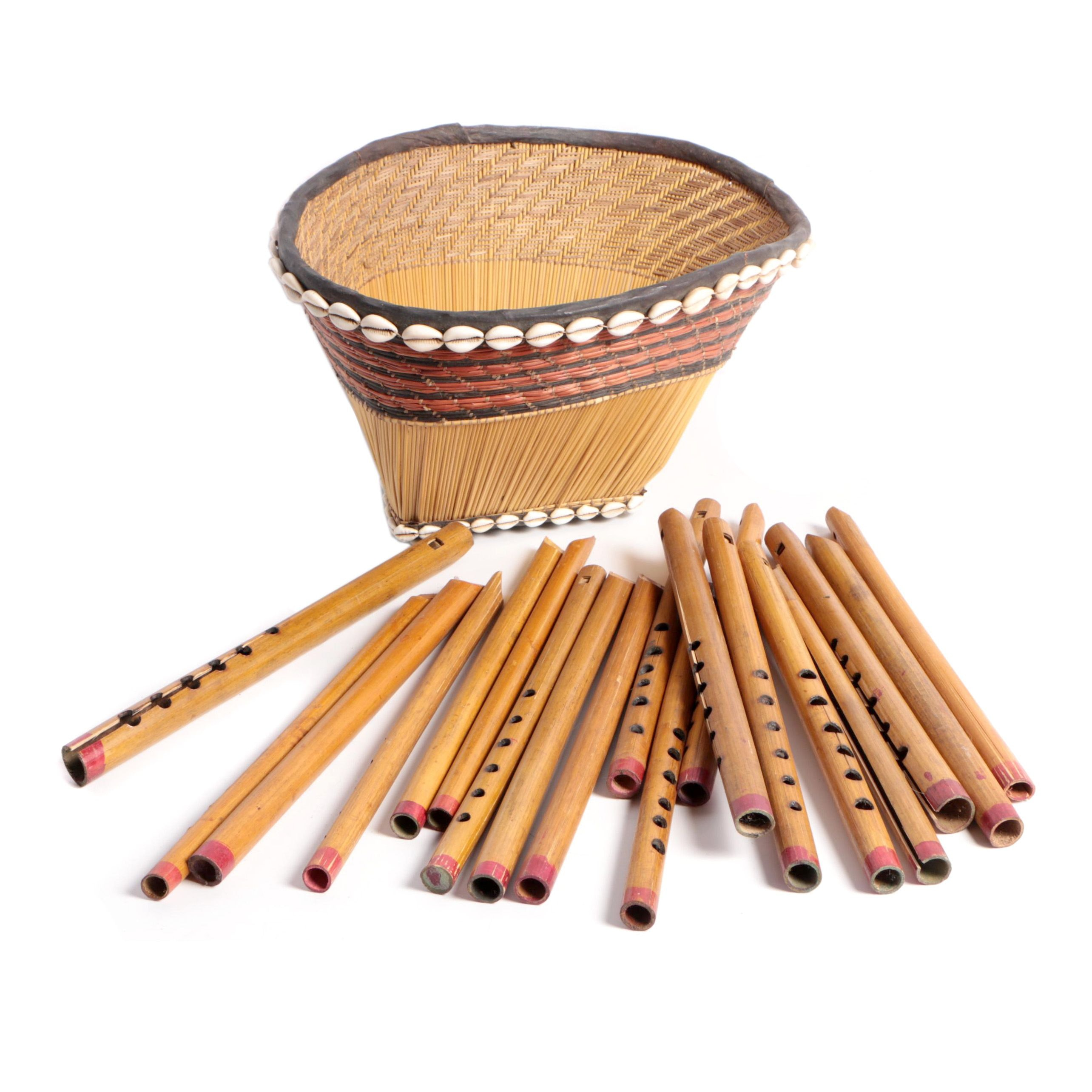 African Style Reed Flutes and Basket
