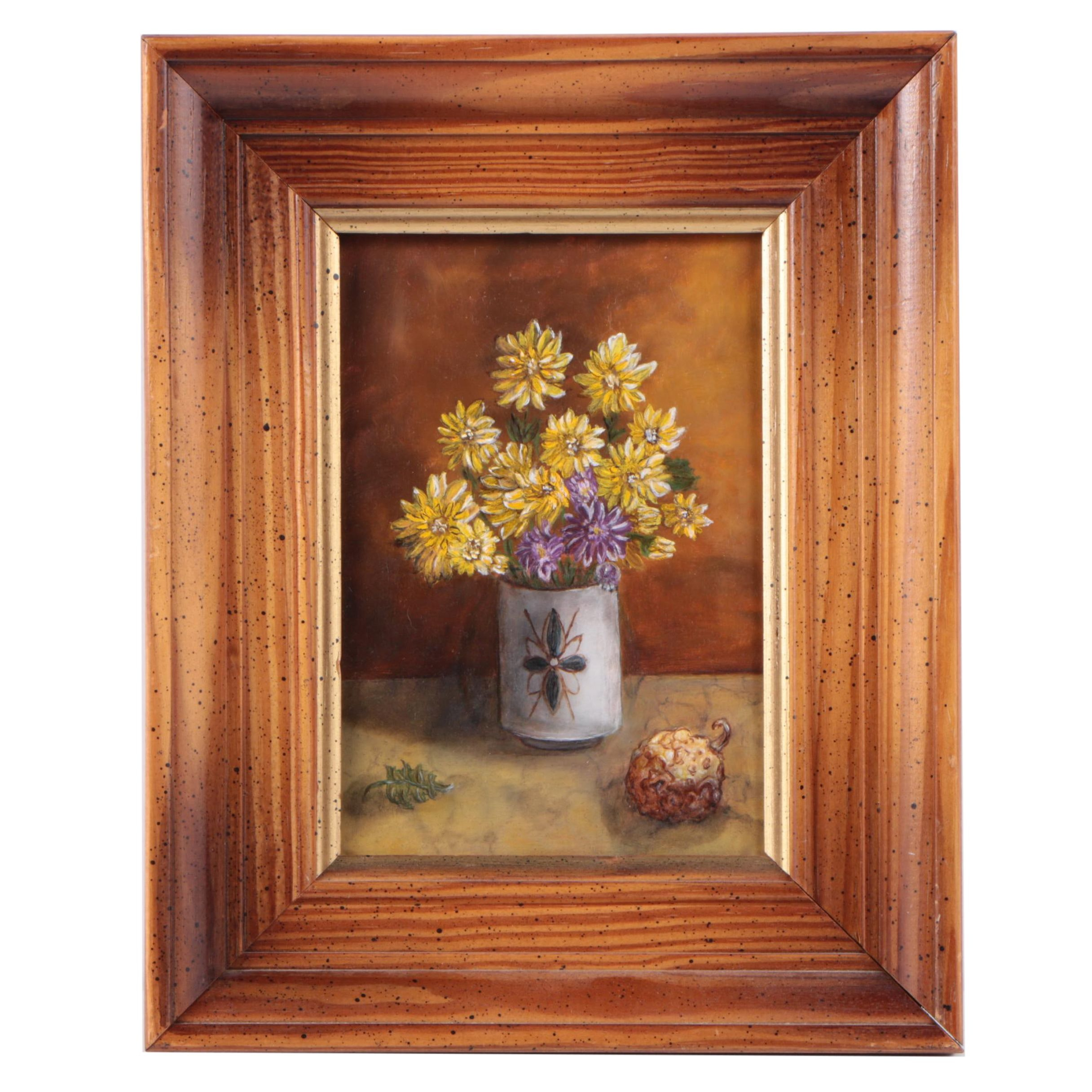 Small Unsigned Oil Painting on Masonite Still Life of a Vase of Flowers