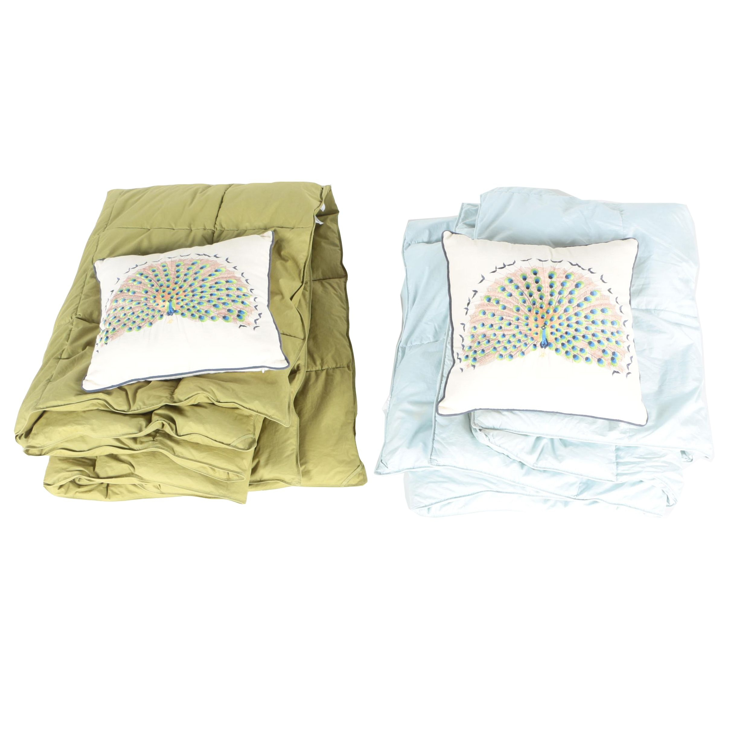 Embroidered Peacock Pillows and Quilted Blankets