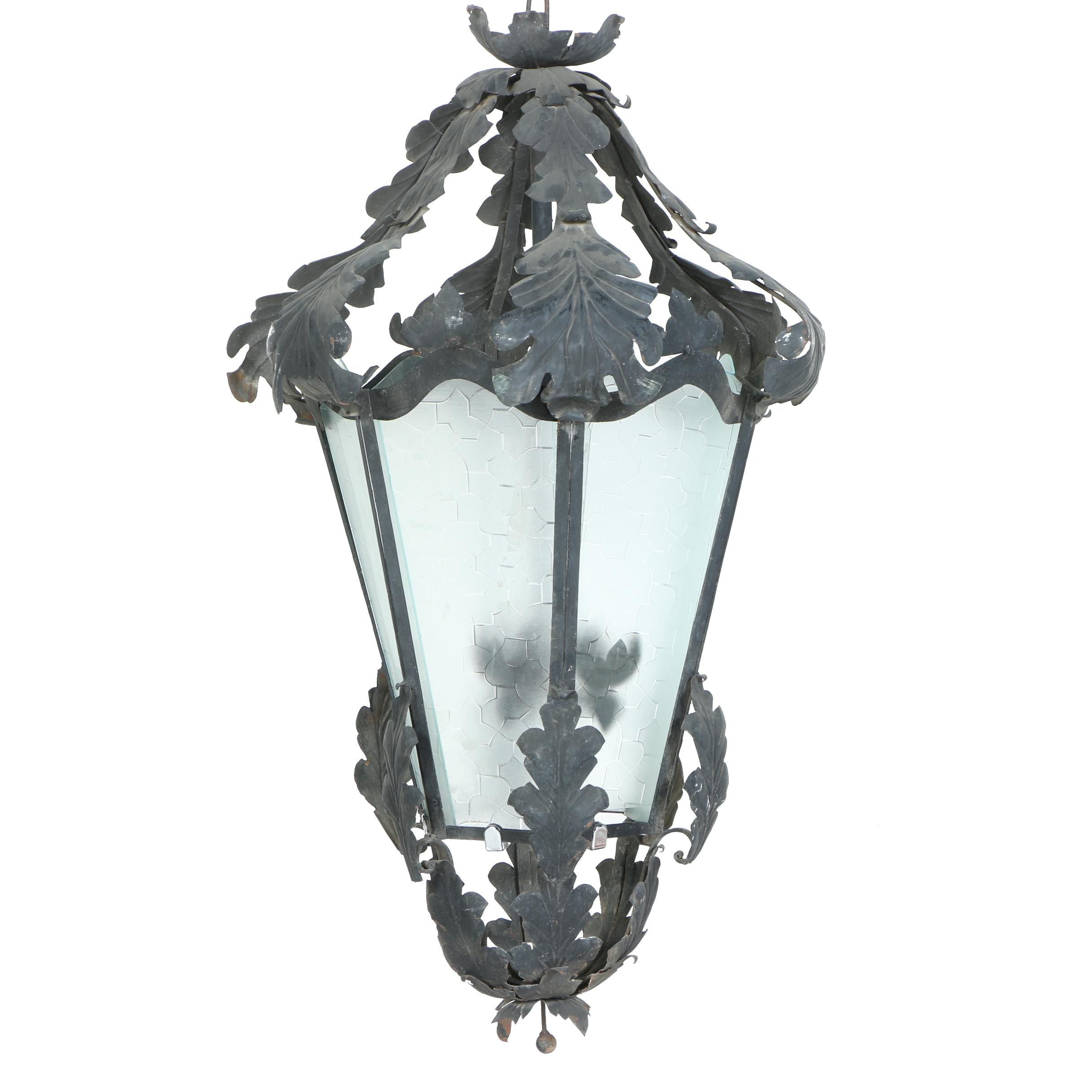 Metal and Glass Lantern Style Ceiling Fixture