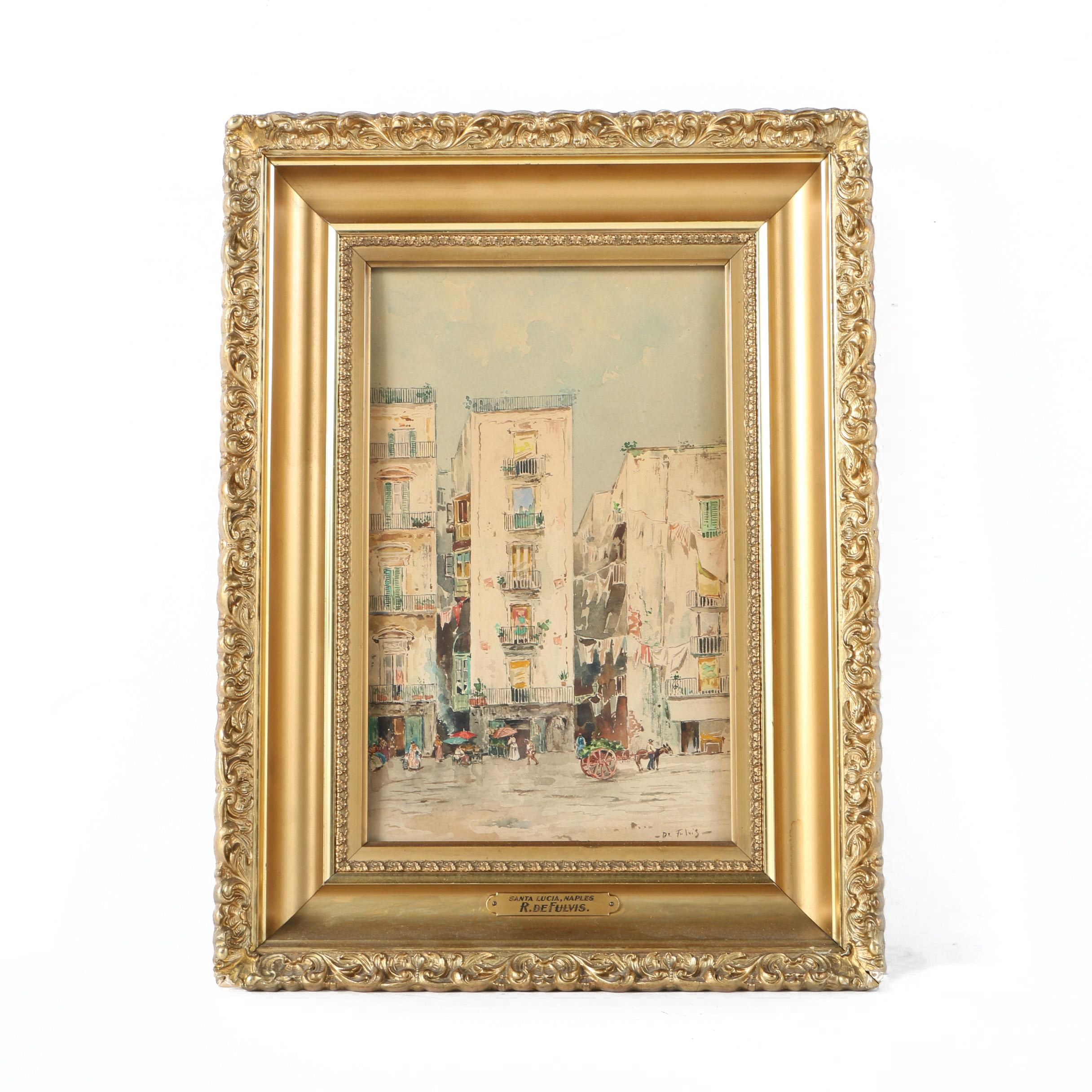 """R. De Fulvis Watercolor Painting on Paper """"Santa Lucia, Naples"""""""