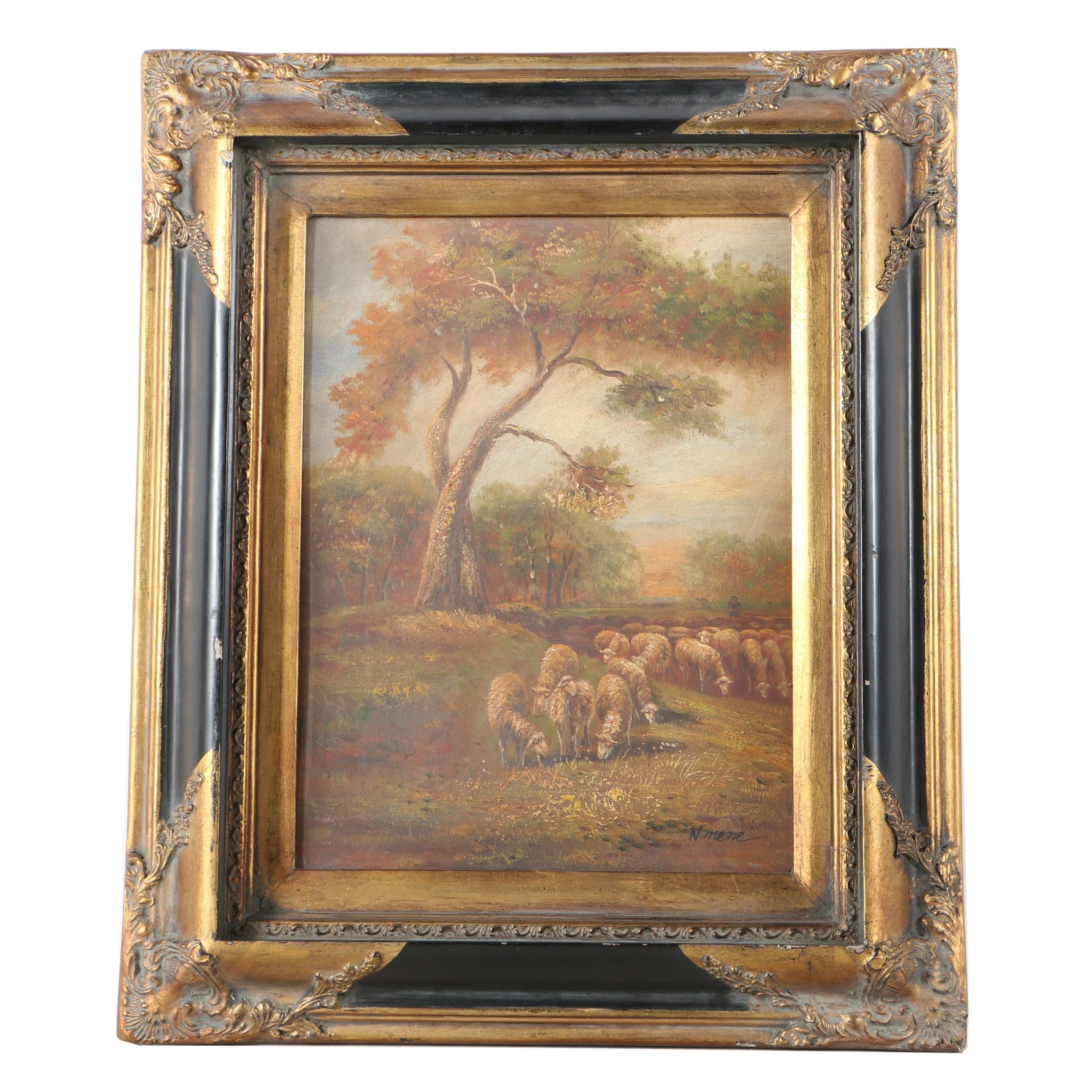 N. Mene Oil on Canvas Landscape Painting