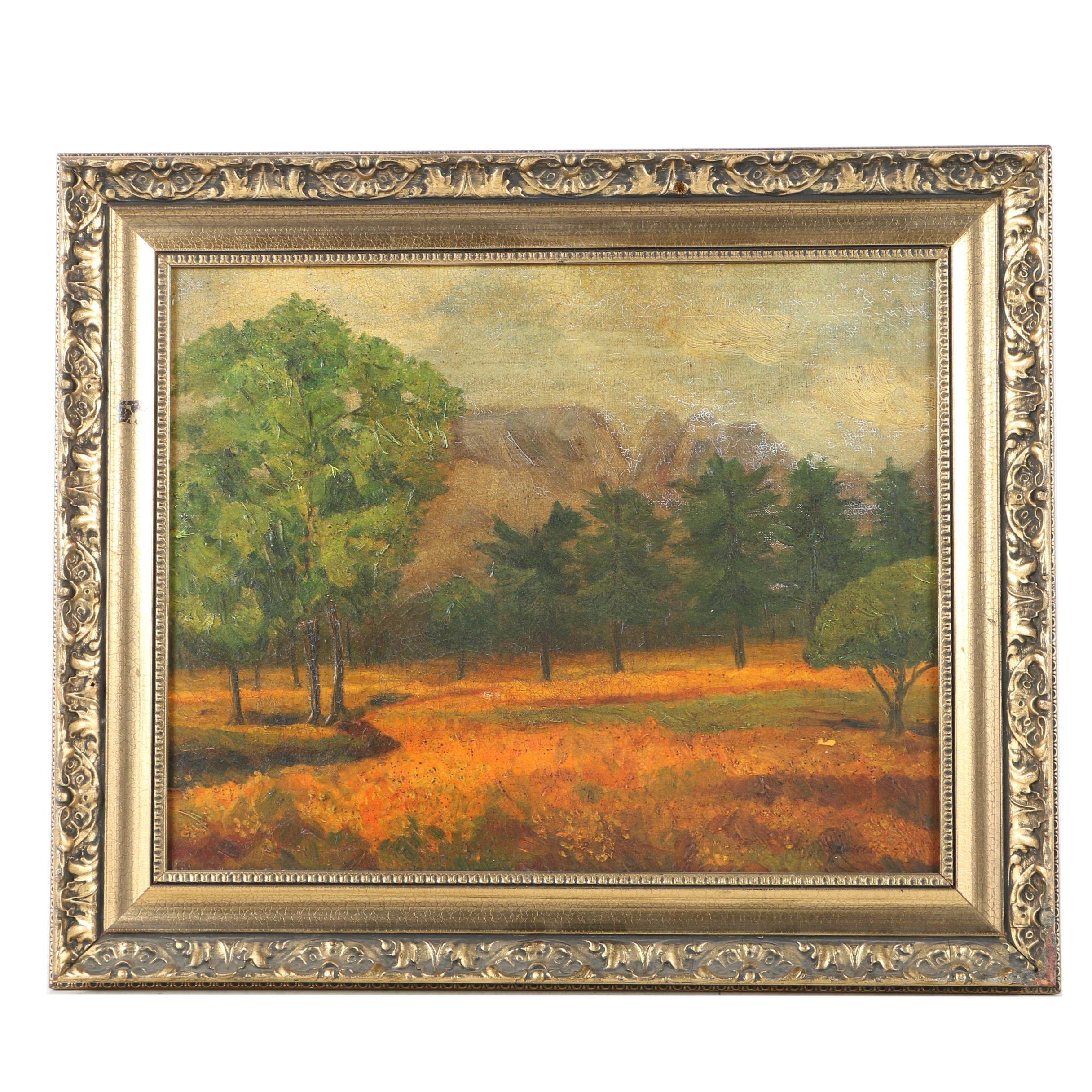 Vintage Signed Oil on Canvas of Landscape