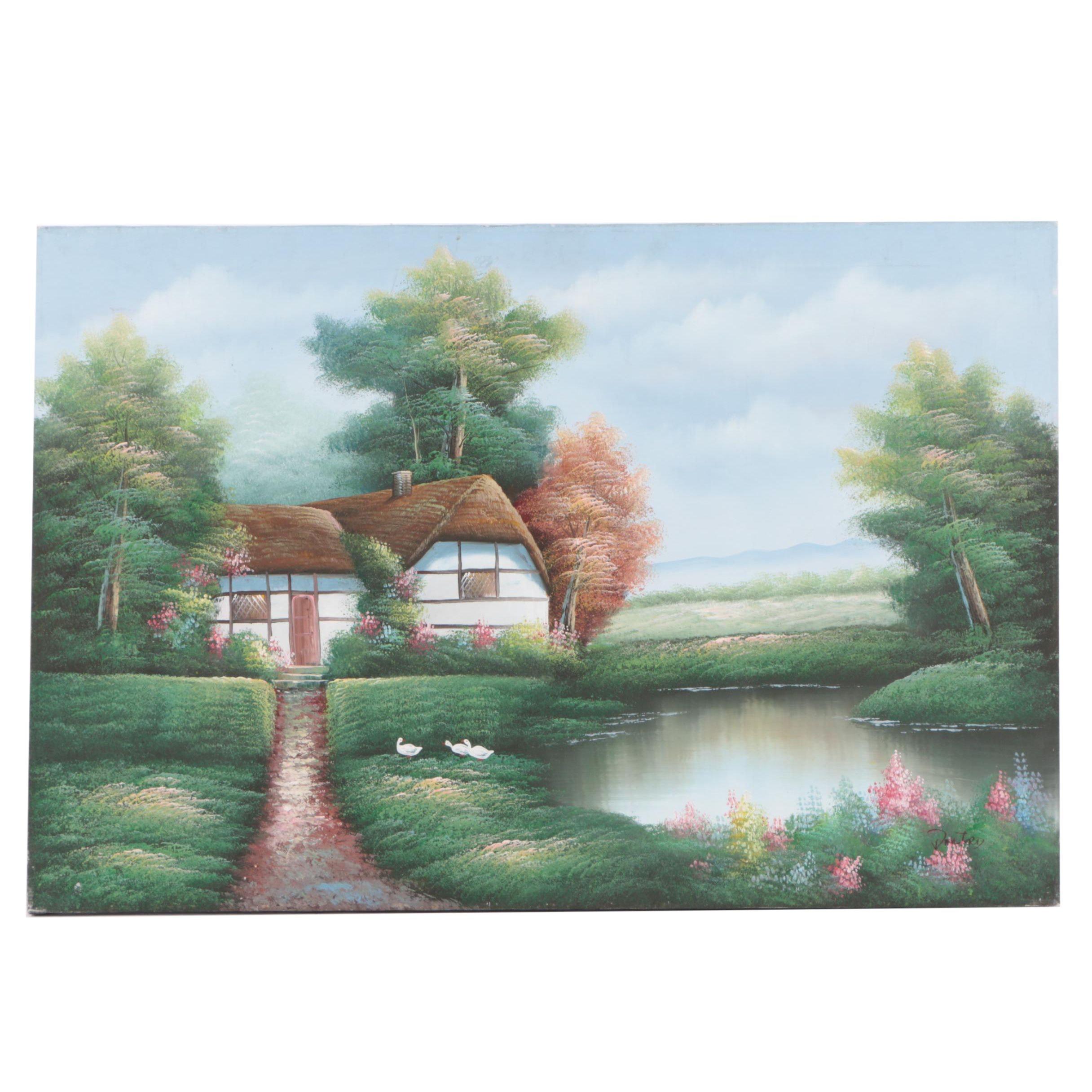Danford Oil Painting on Canvas of Pastoral Landscape