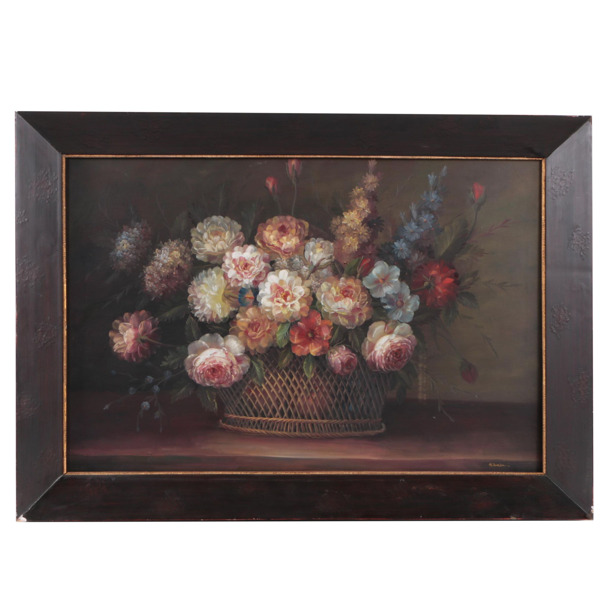 Signed Oil on Canvas Still Life Painting of Roses