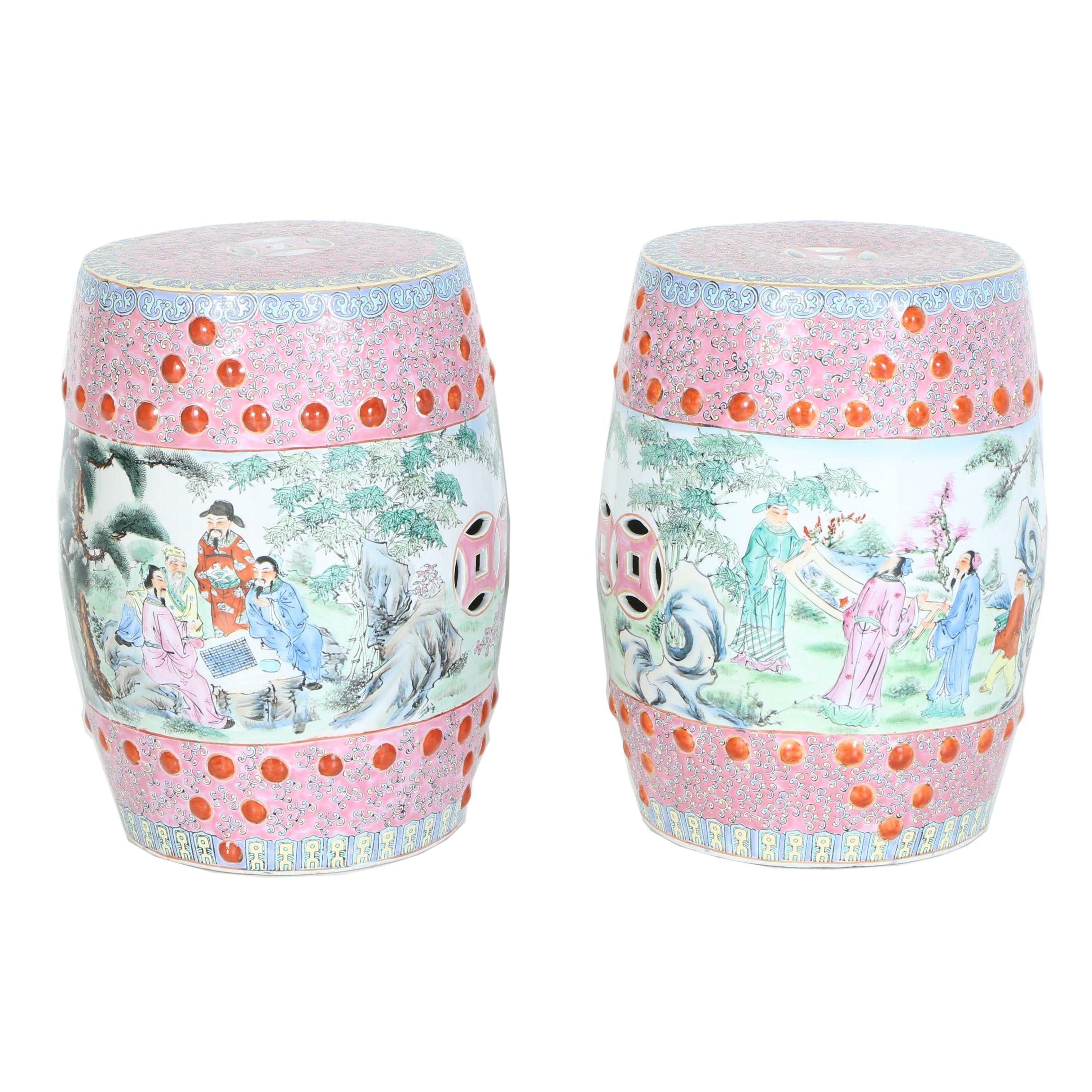 Chinese Painted Ceramic Garden Stools