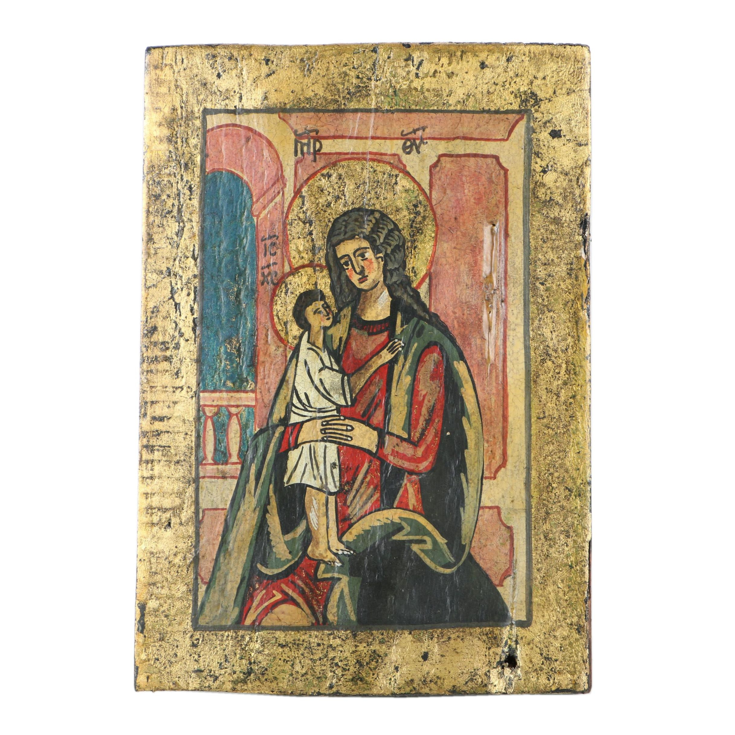 "Early 20th Century Eastern Orthodox ""Mother of God"" Icon"