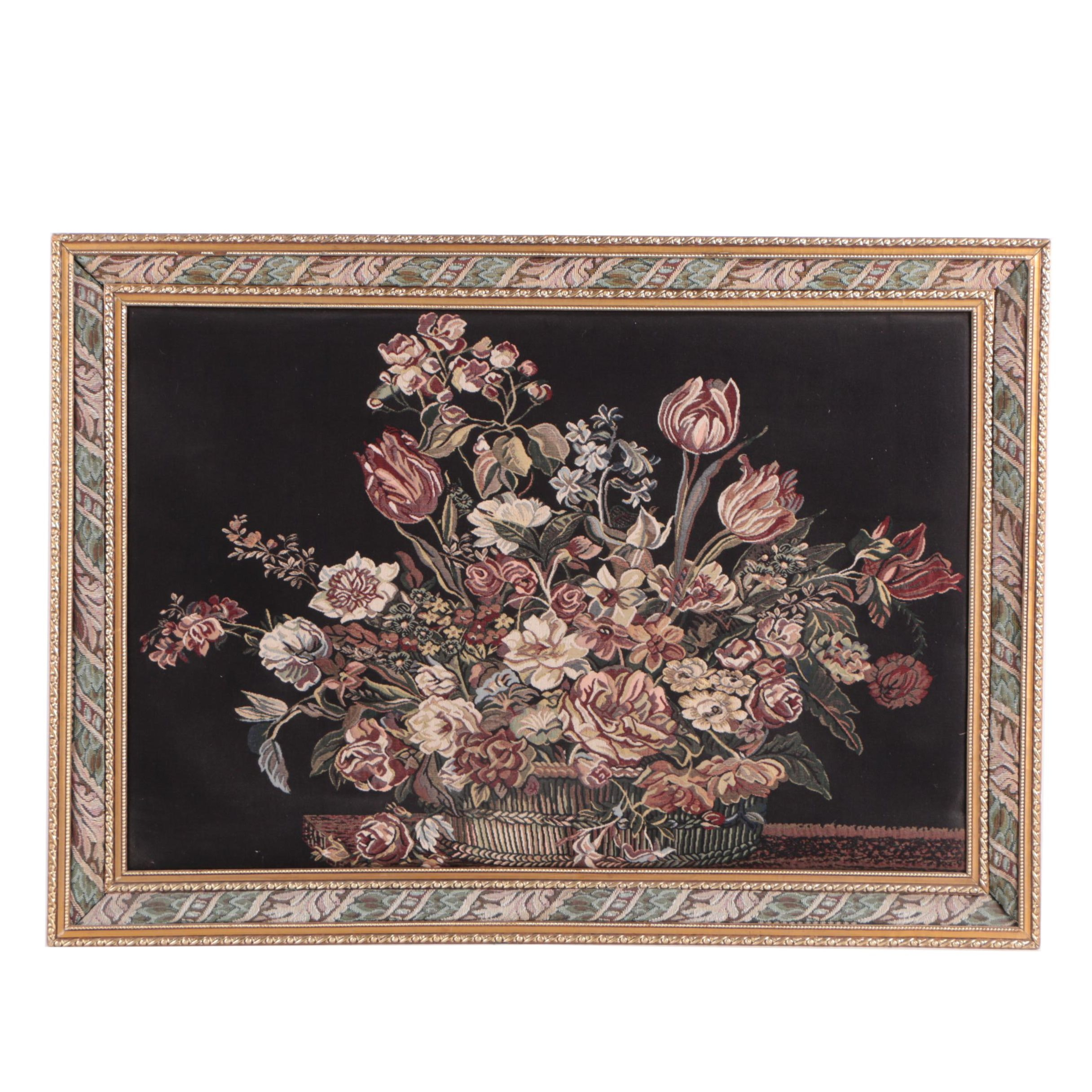 Unsigned Tapestry of Still Life in a Wood Frame