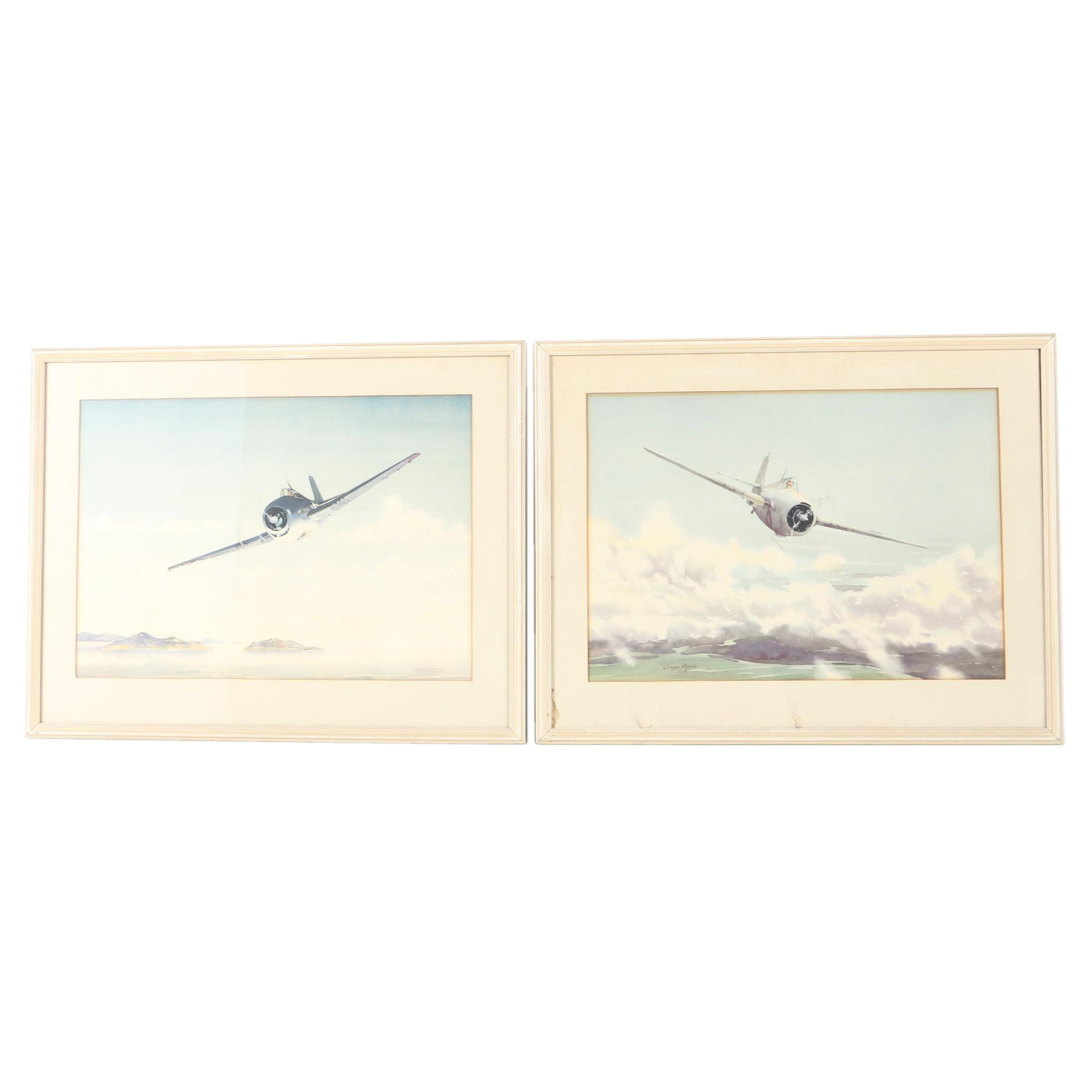 Offset Lithographs After Wayne Davis of Military Airplanes