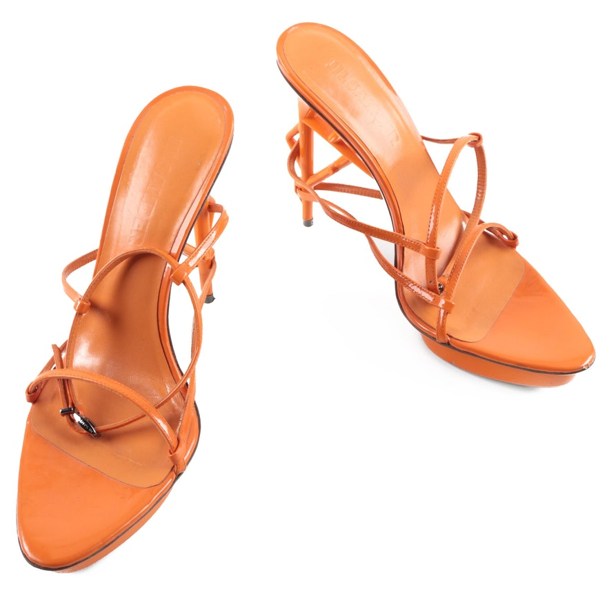 38bb1c264eb Jil Sander Orange Patent Leather Platform High Heel Sandals