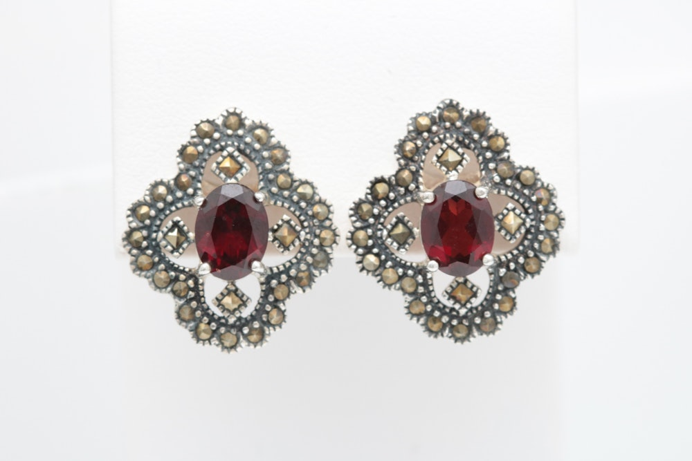 Sterling Silver, Garnet and Marcasite Earrings