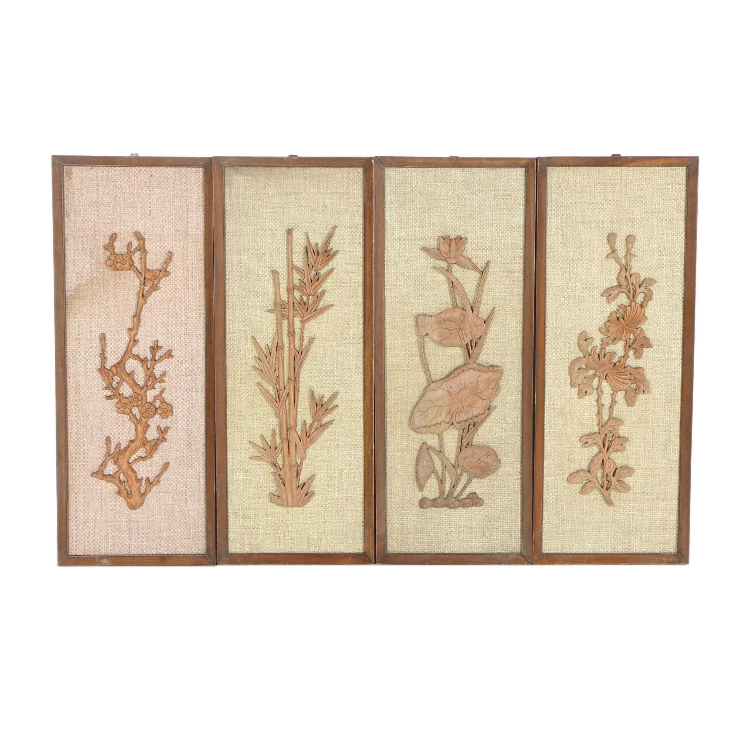 Wood Panels with Carved Floral Design