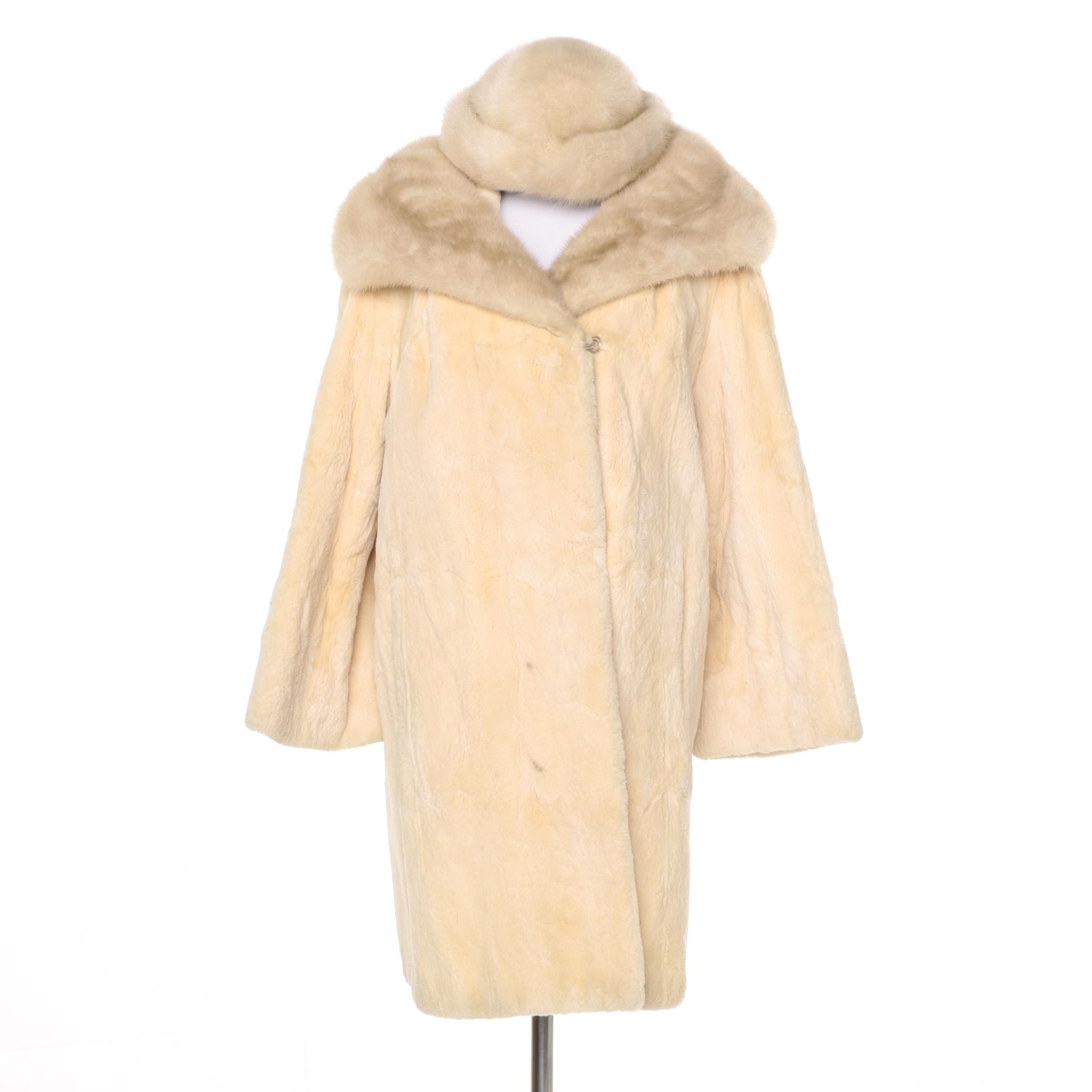 David Green Sheared Beaver Fur Coat with Mink Fur trim and a Mink Fur Hat